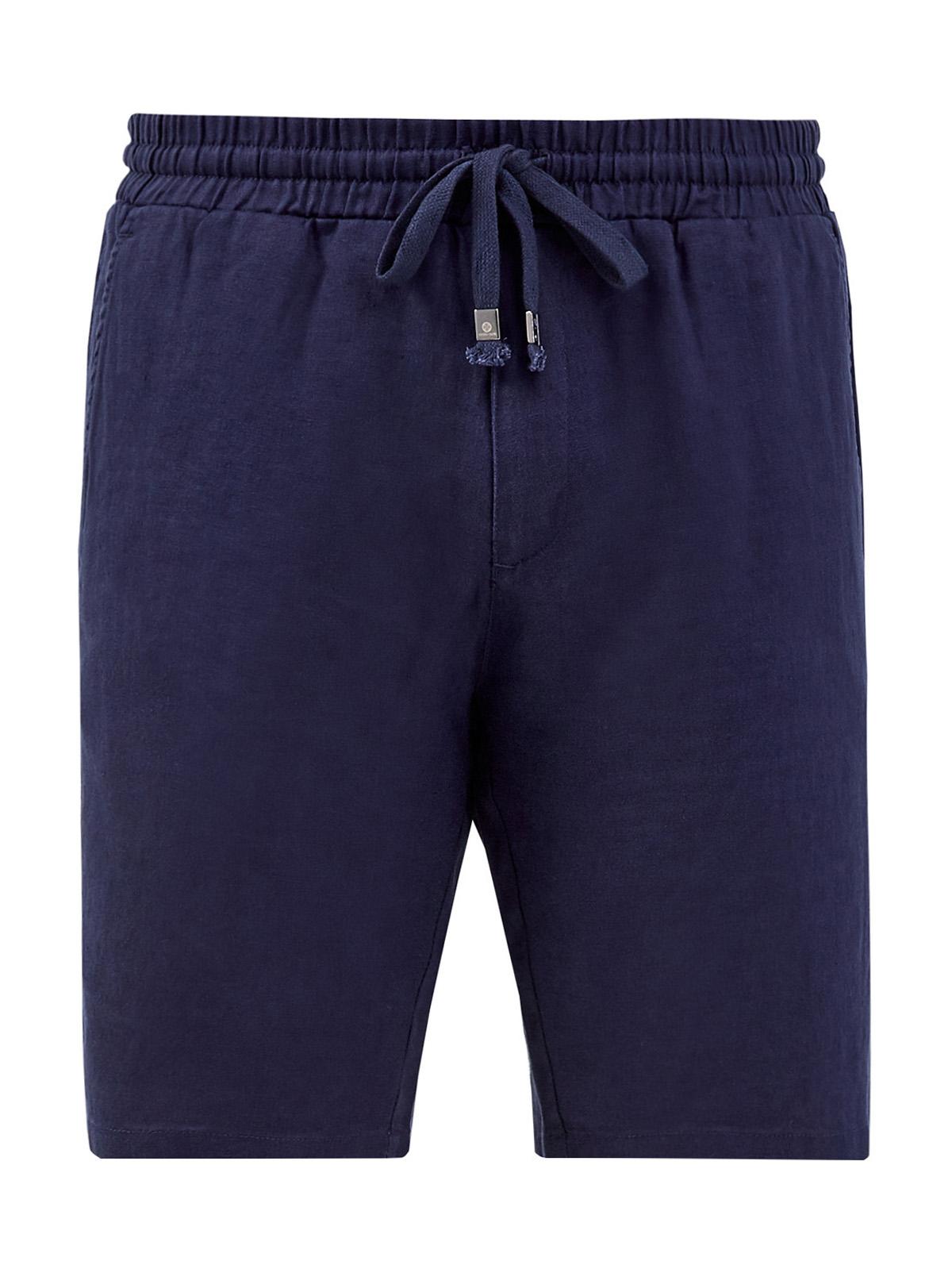 Льняные шорты с эластичным поясом на кулиске