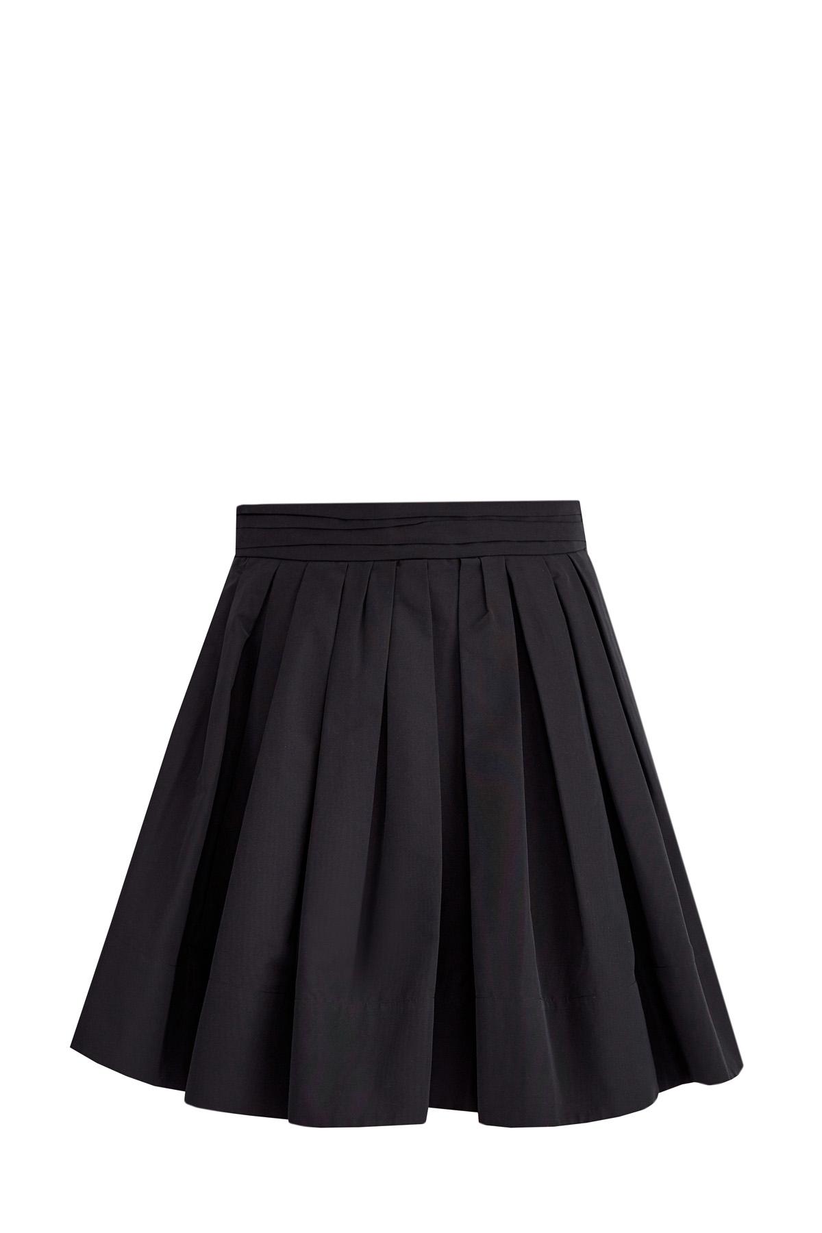 Пышная юбка-мини со складками из хлопковой ткани микрофай