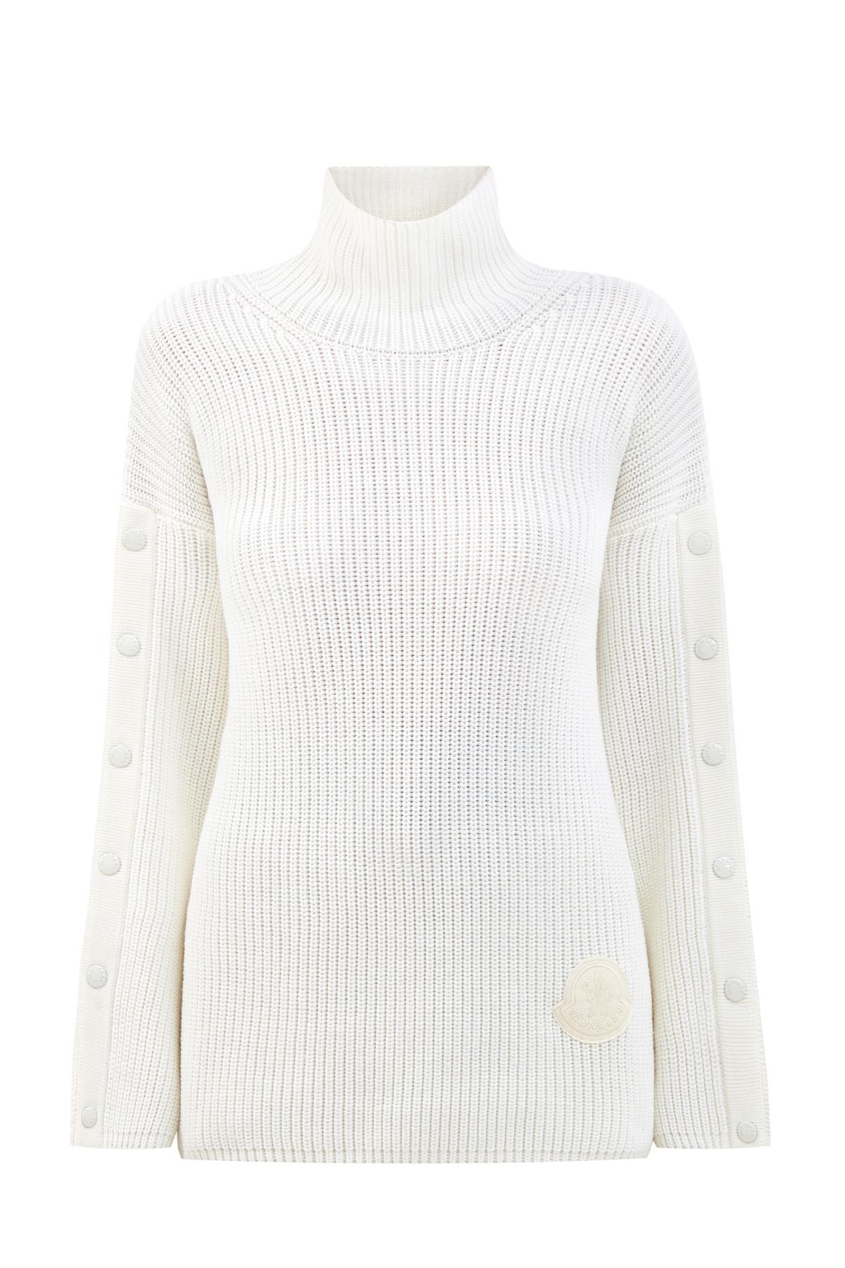 Шерстяной свитер крупной вязки с разрезами на рукавах фото