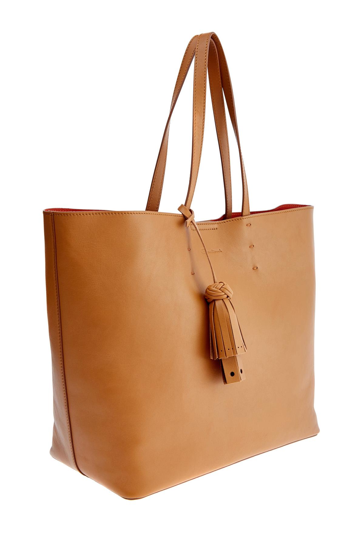 Вместительная сумка-тоут из матовой гладкой кожи с брелоком-кистью SANTONI 1822ba c70 Фото 3
