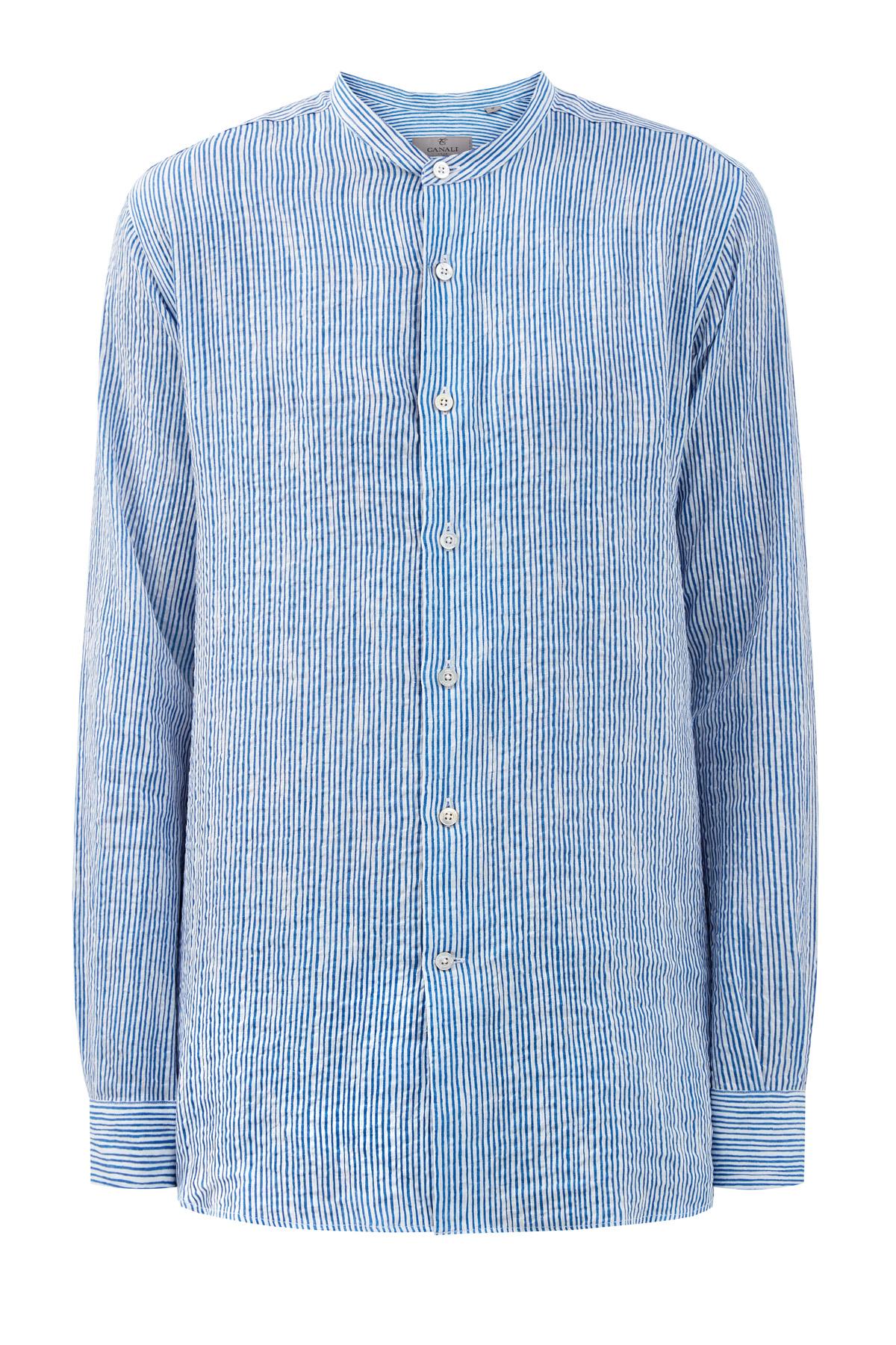 Рубашка из жатого льна с воротником-стойкой