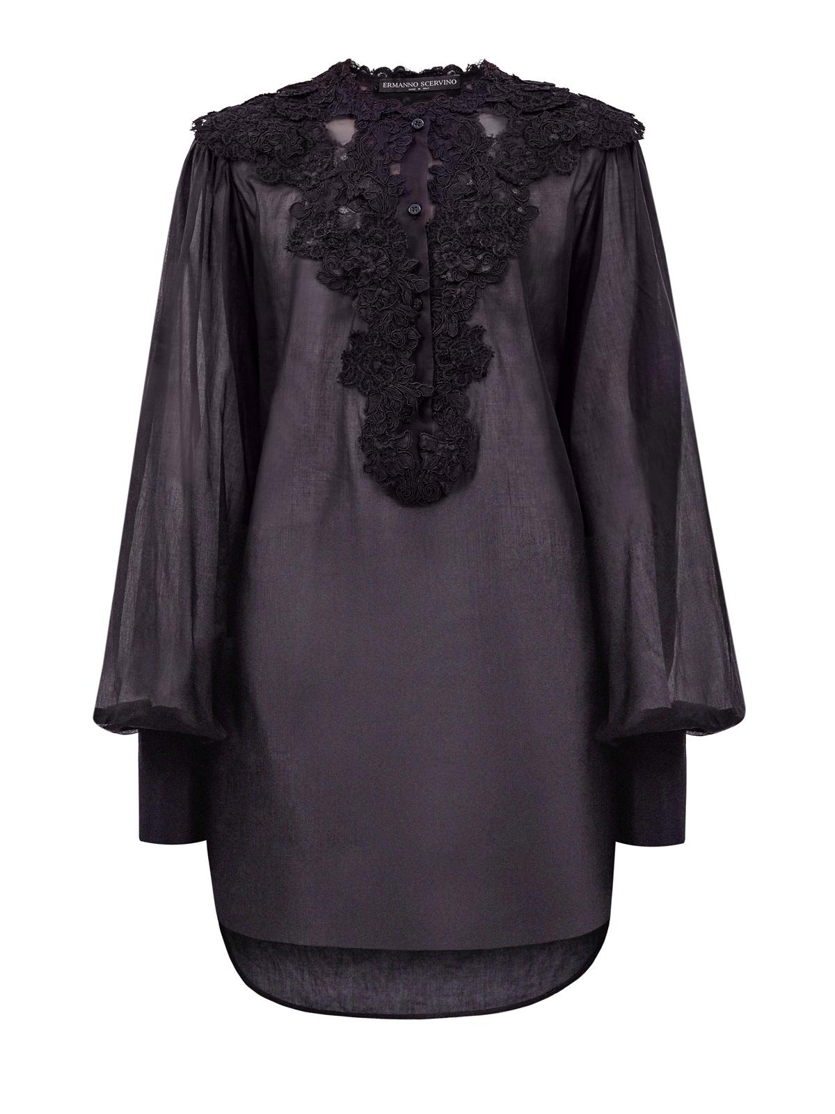 Удлиненная рубашка из полупрозрачного хлопкового муслина