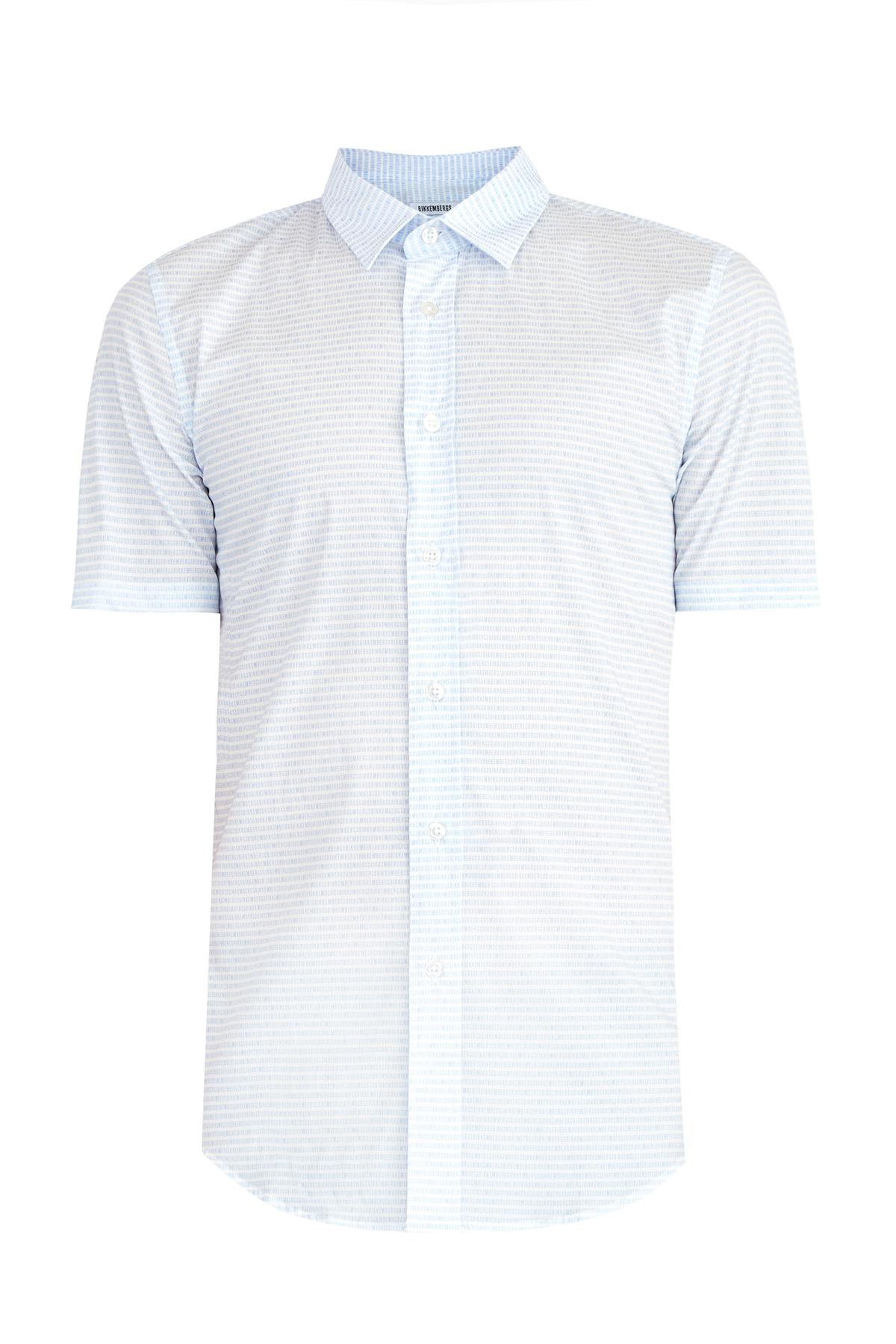 Рубашка из поплина stretch с коротким рукавом и микро-принтом