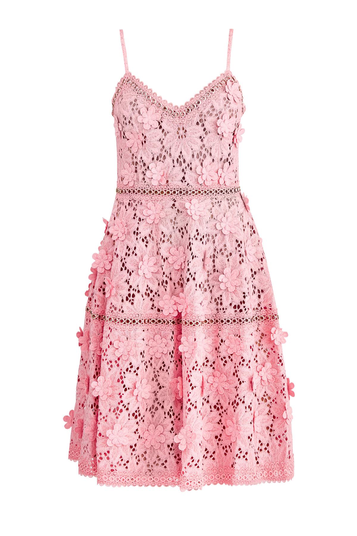 Платье из цветочного кружева с люверсами и объемным декором