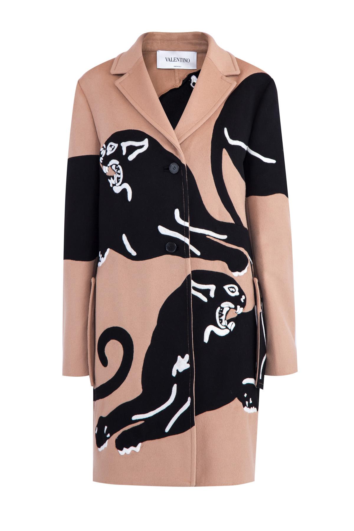 Пальто из шерсти и кашемира с интарсией