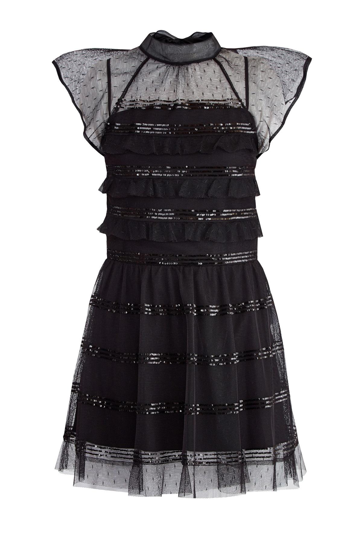 Платье из вуали Пуэн-деспри вышивкой пайетками и бантом на спинке