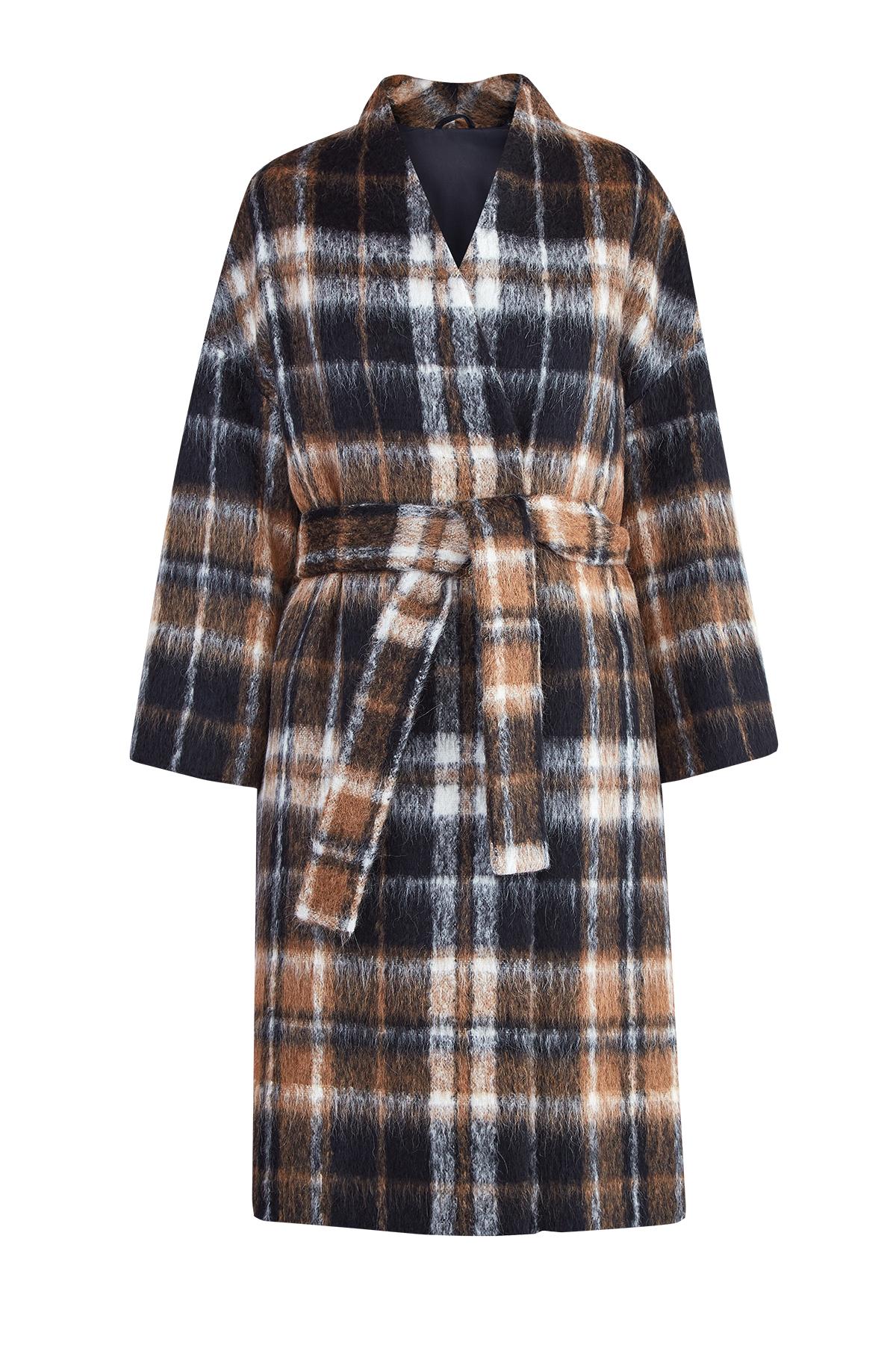 Пальто-халат из шерсти альпака с клетчатым узором фото