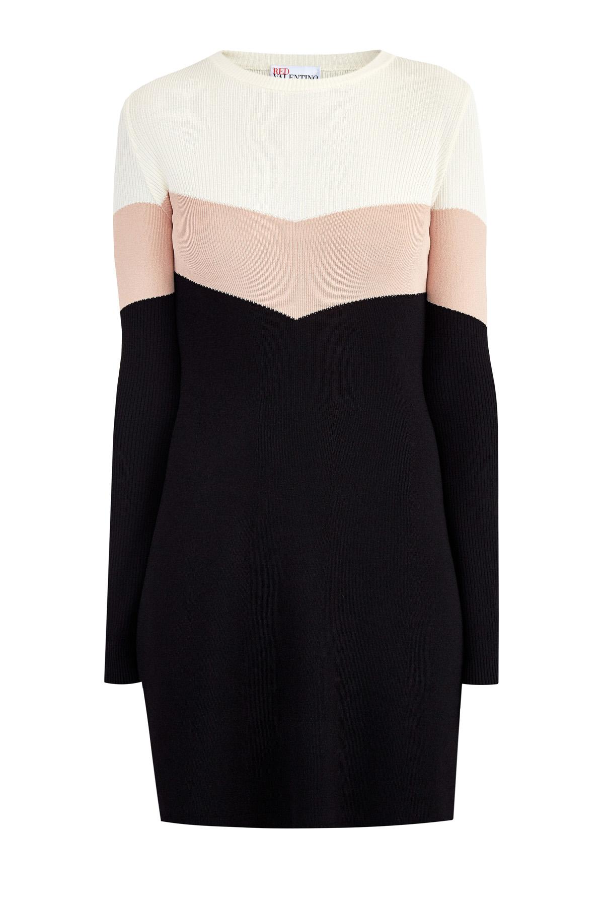 Платье-мини из пряжи stretch с лифом и рукавами в рубчик
