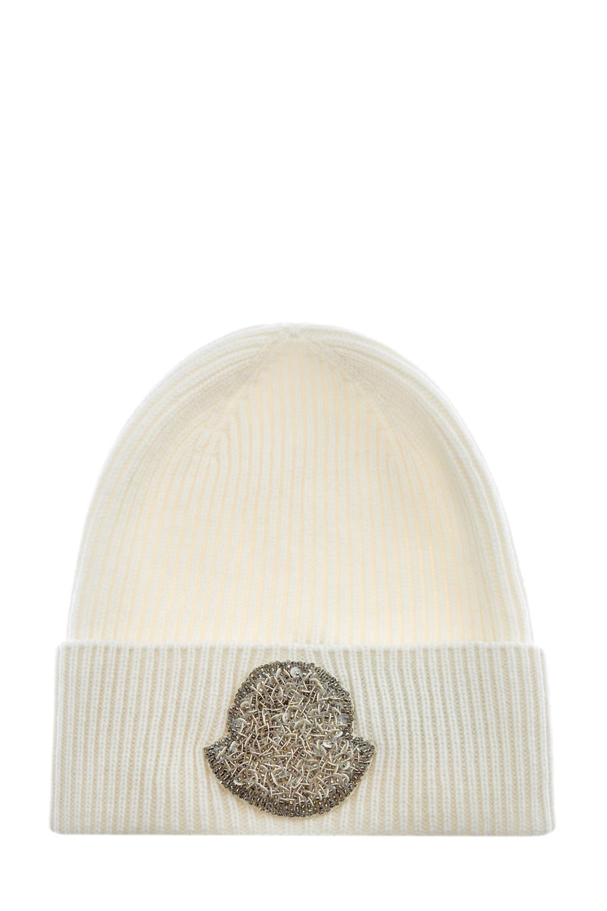 Шерстяная шапка с волокнами кашемира и вышивкой пайетками фото