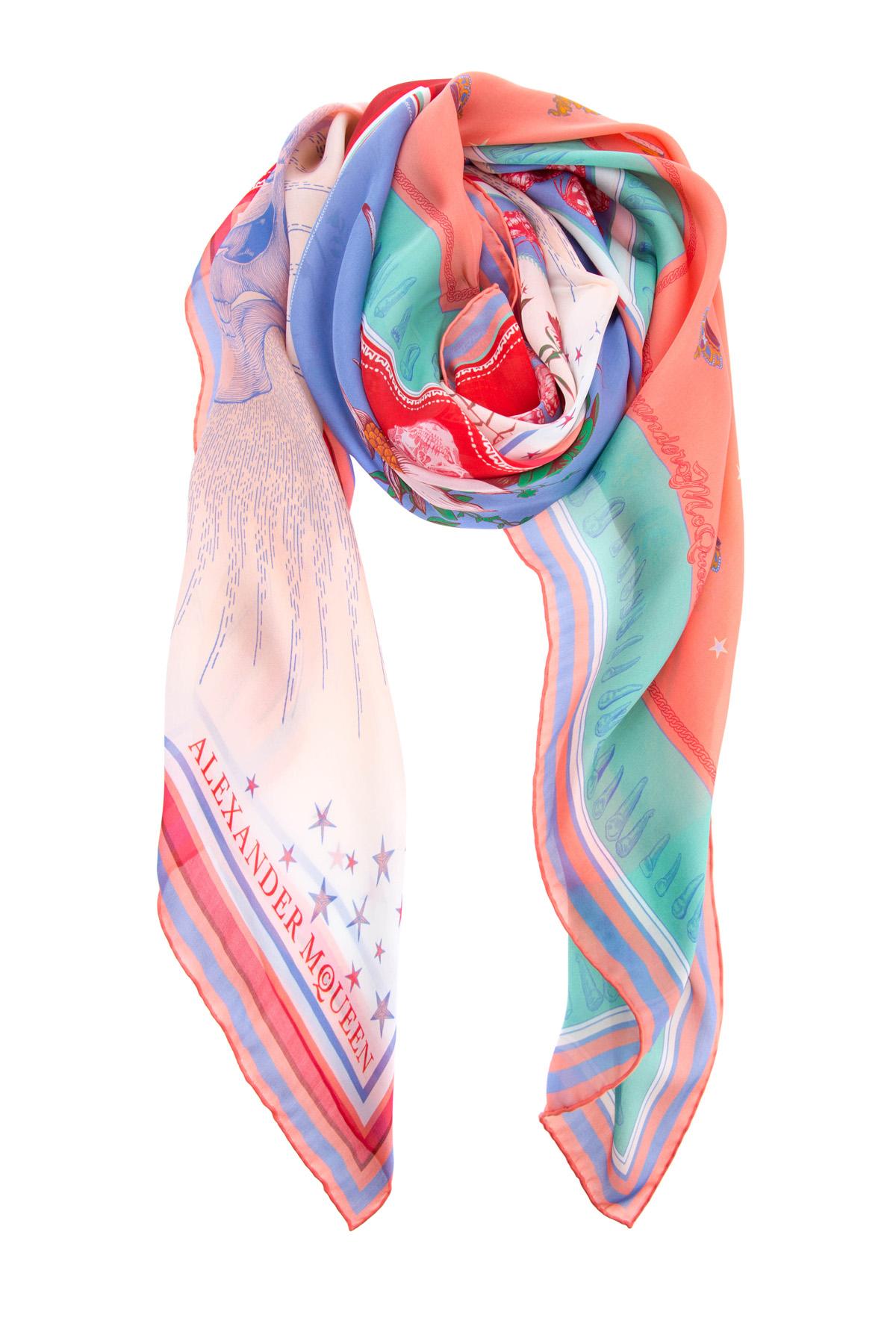Купить Платок из шелка с ярким принтом в фирменном стиле, ALEXANDER MCQUEEN, Италия, шелк 100%
