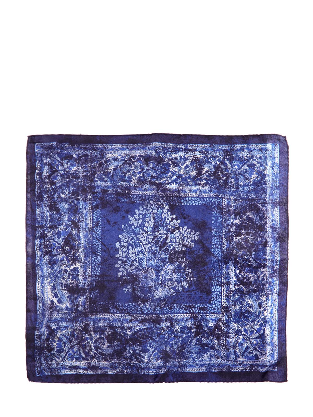 Платок-паше из шелка с принтом в синей гамме