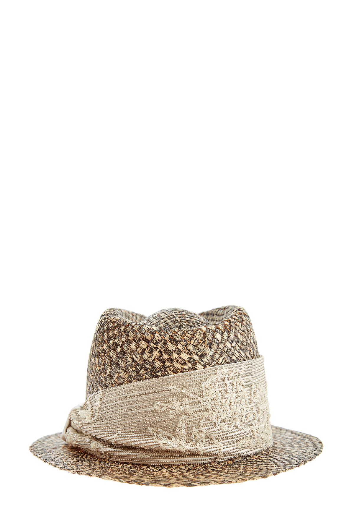 Купить со скидкой Шляпа из рафии с узором из пайеток и вышивкой украшением Мониль