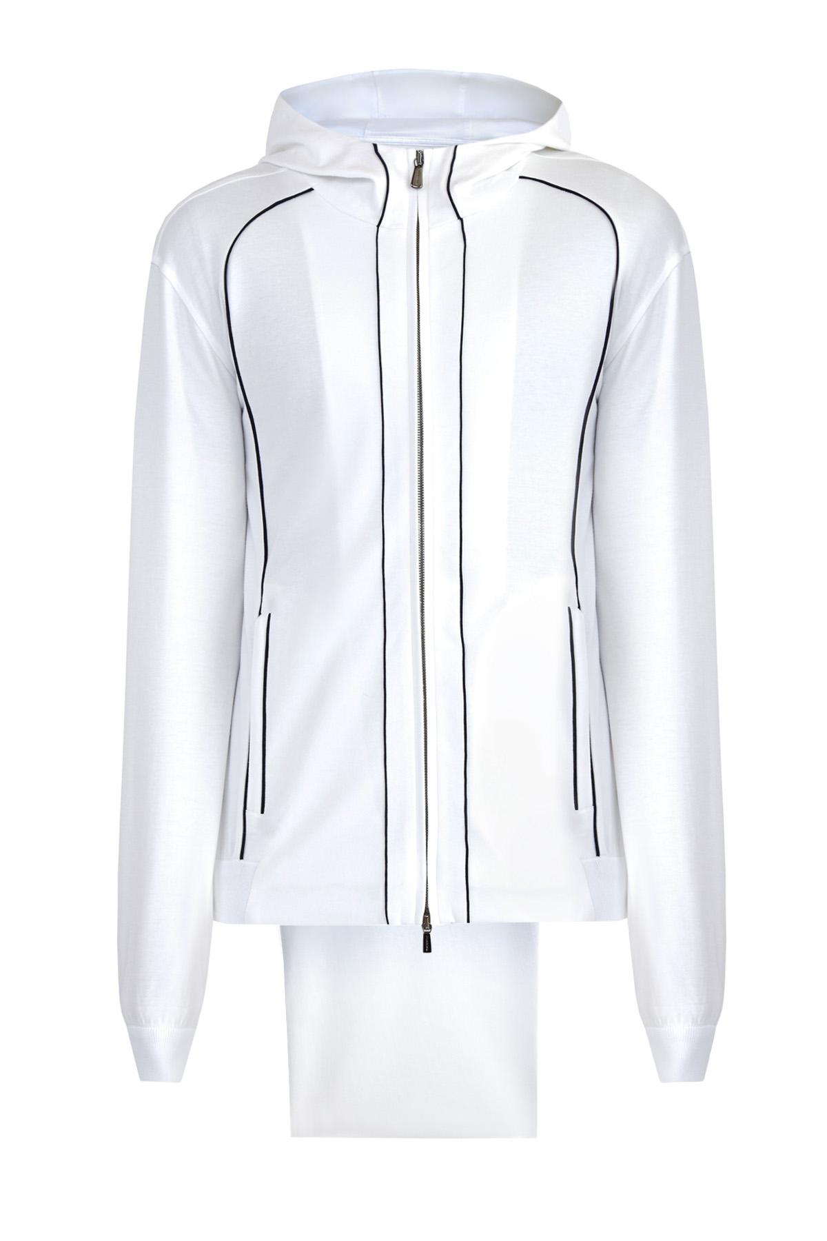 Спортивный костюм из хлопка интерлок с контрастной отделкой швов