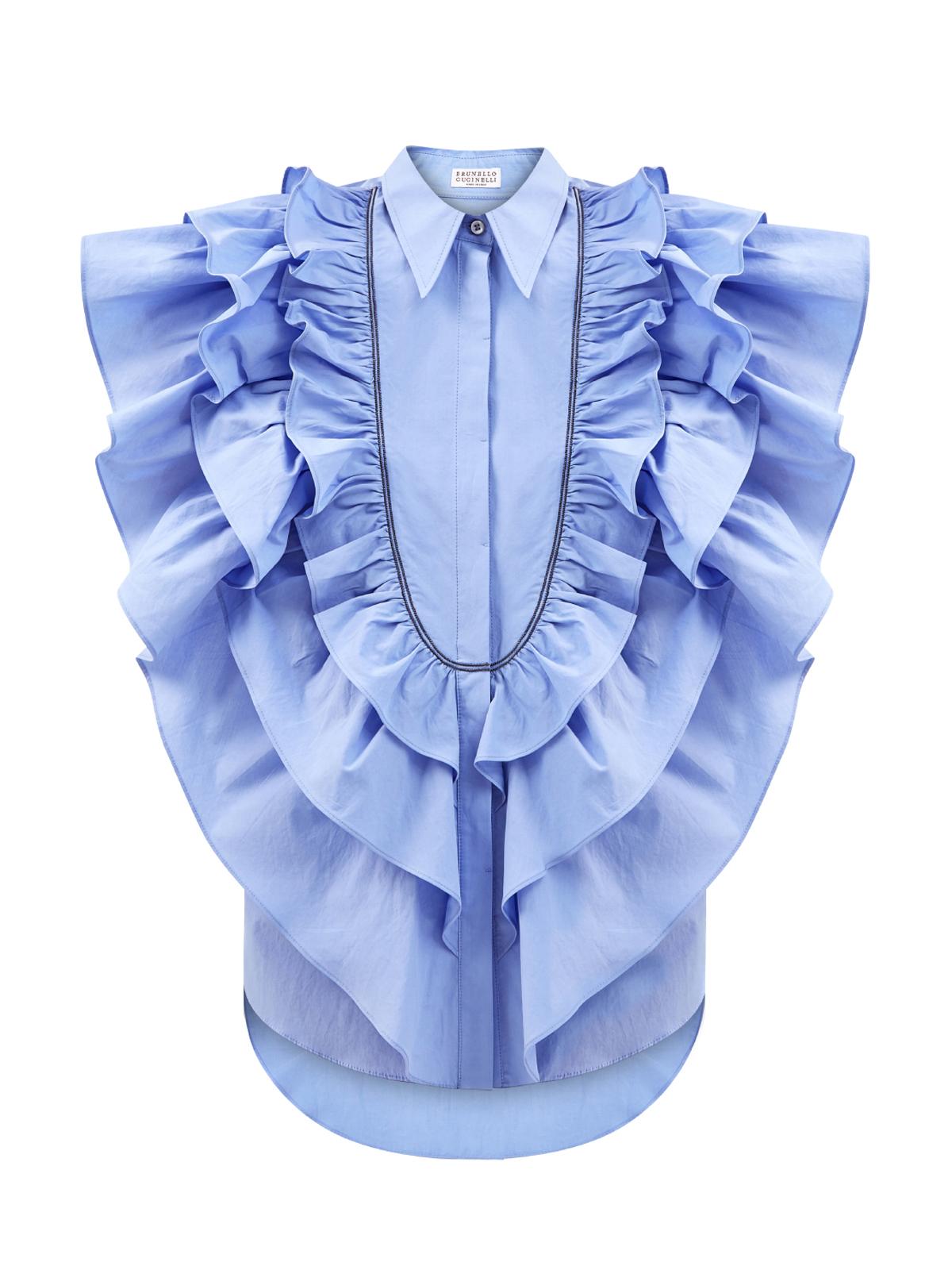 Рубашка из хлопкового поплина с многослойными оборками
