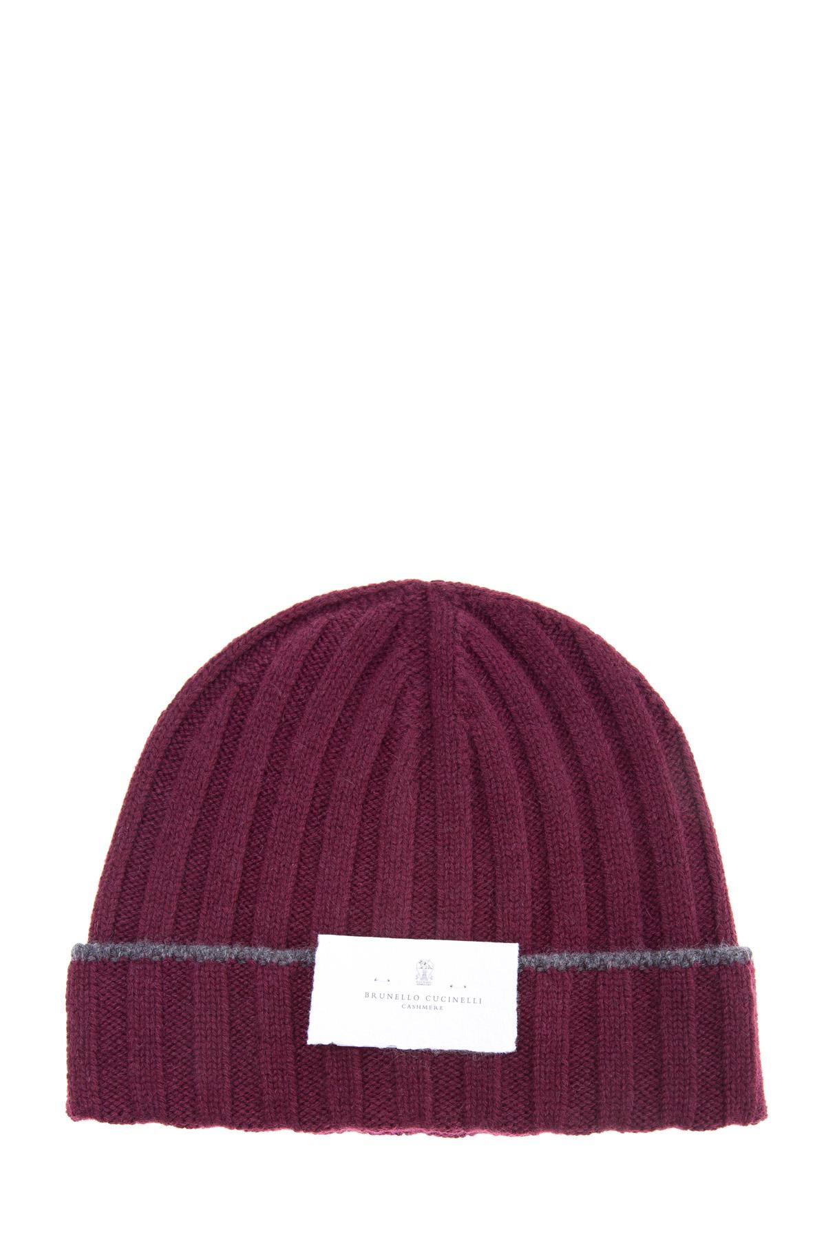 Теплая шапка из шерсти с контрастной полосой на отвороте фото