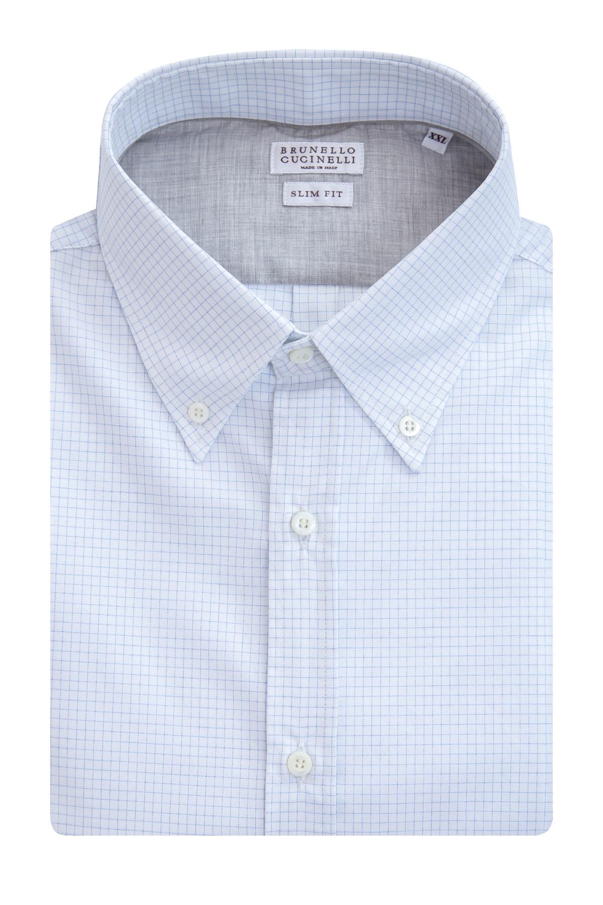Купить Рубашка приталенного кроя с воротником на пуговицах в стиле casual, BRUNELLO CUCINELLI, Италия, хлопок 100%