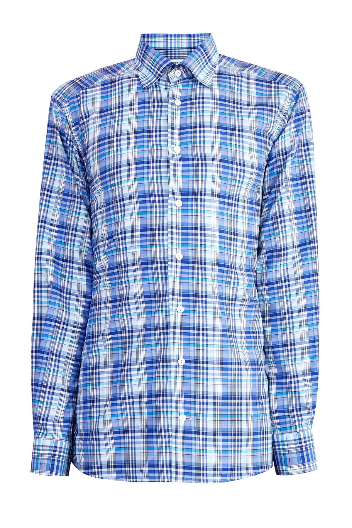 Клетчатая рубашка из хлопка Fine Twill с воротником button-down