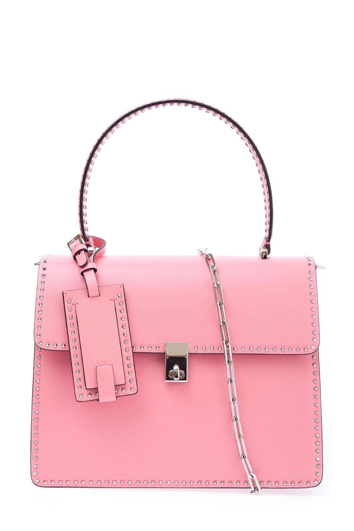 Купить Яркая структурированная сумка Stud Stiching, VALENTINO, Италия, кожа 100%
