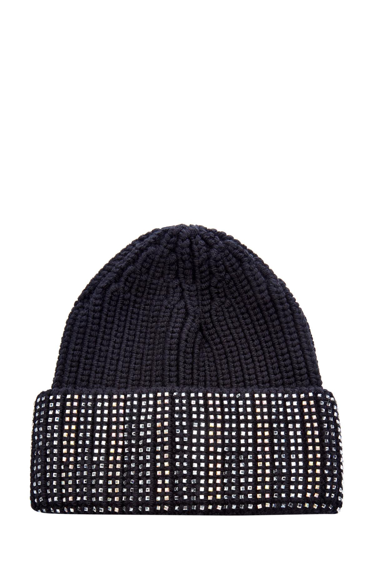 Шерстяная шапка с кристаллами на отвороте фото