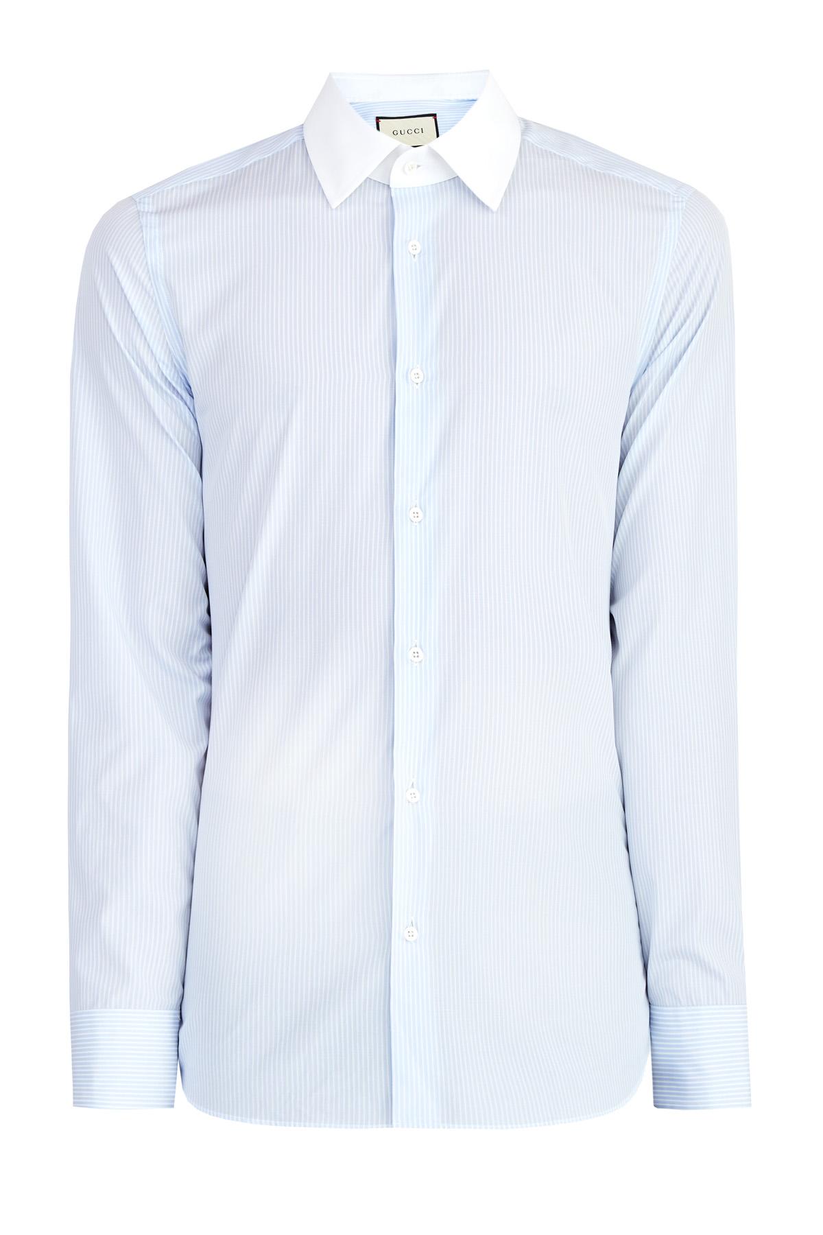 Рубашка из поплина в полоску с однотонным воротником и вышивкой