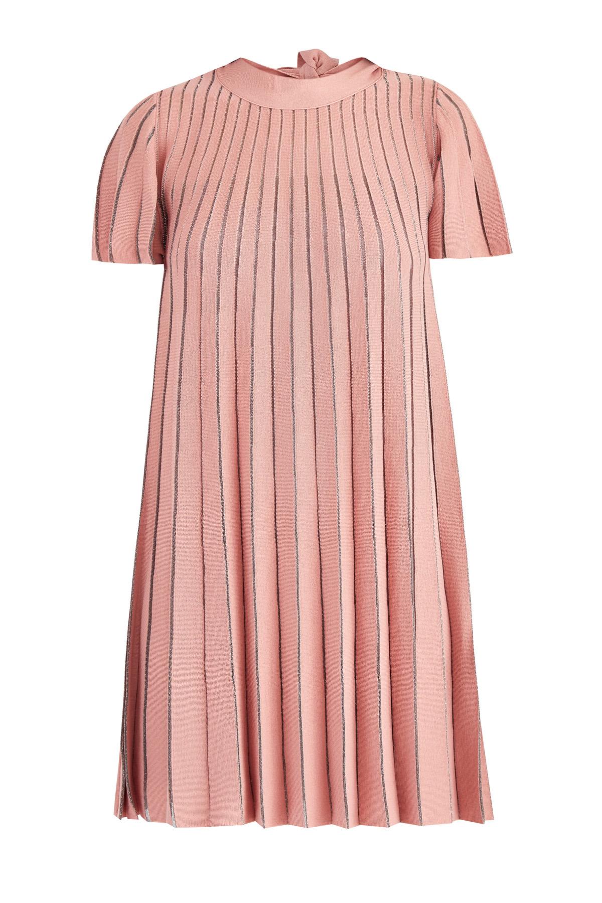 Расклешенное платье плиссе с мерцающей ажурной отделкой в полоску