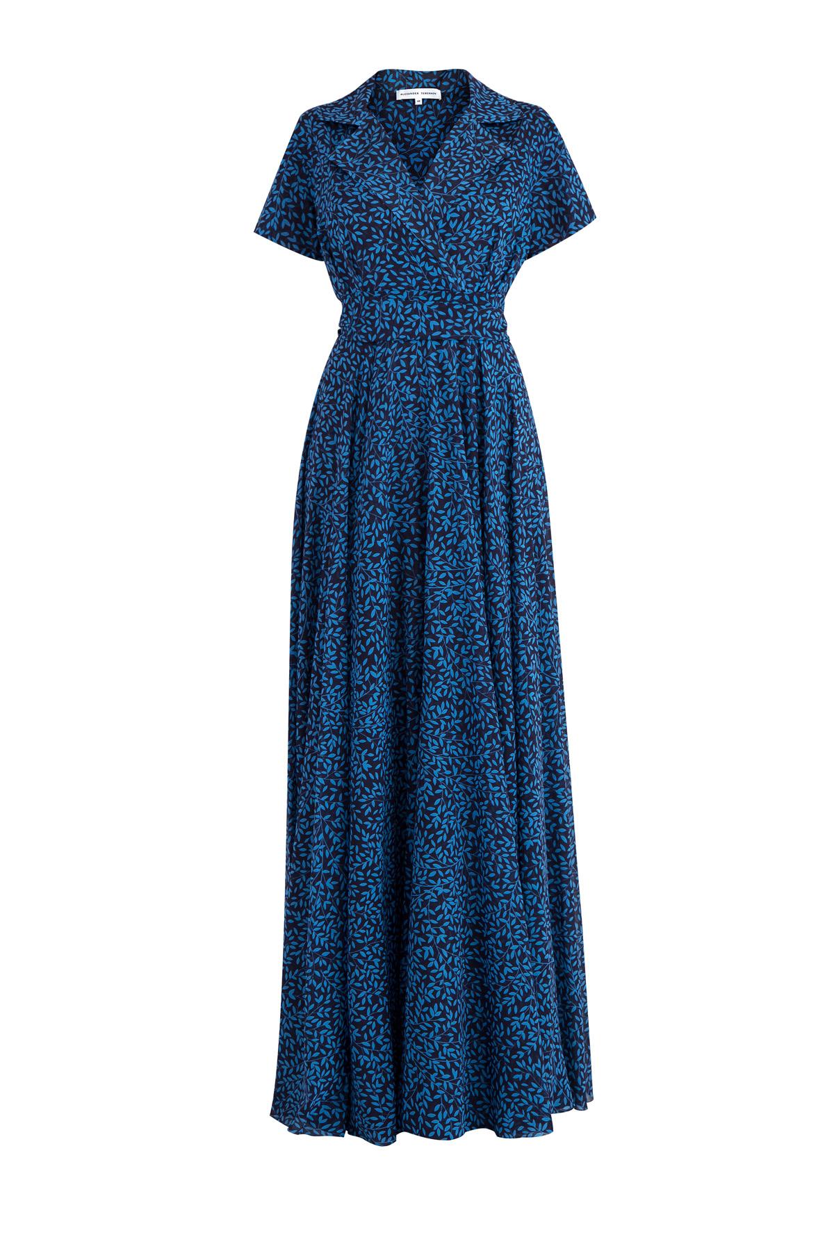 Купить Шелковое платье-макси с контрастным принтом и воротом с лацканами, ALEXANDER TEREKHOV, Россия, шелк 95%, эластан 5%