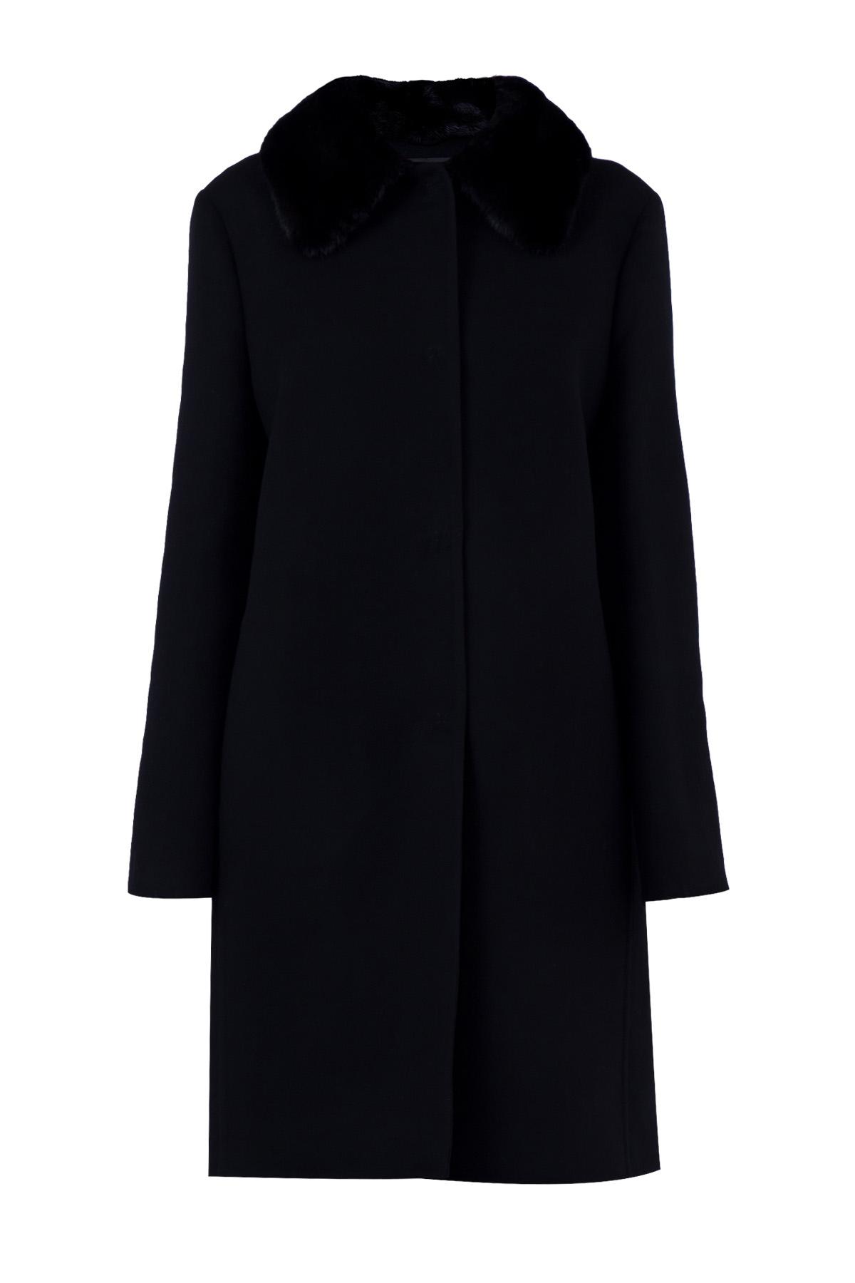 Купить Пальто, ERMANNO SCERVINO, Италия, шерсть 100%, мех норки 100%