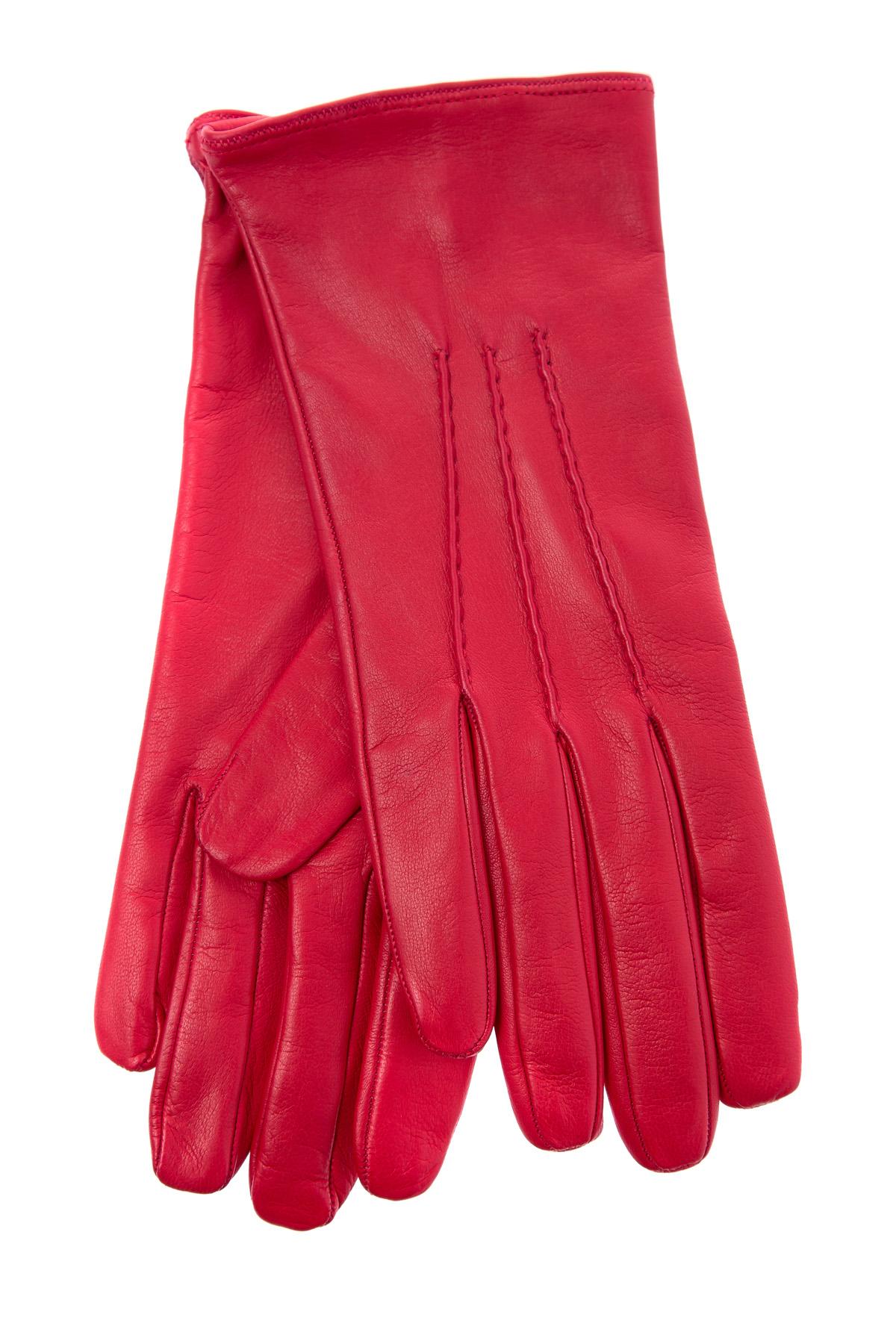 Купить со скидкой Перчатки из мягкой кожи наппа алого оттенка