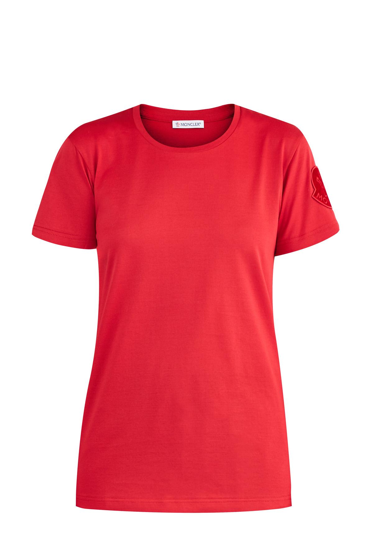 Купить со скидкой Яркая футболка с фактурной нашивкой в тон в виде логотипа на плече