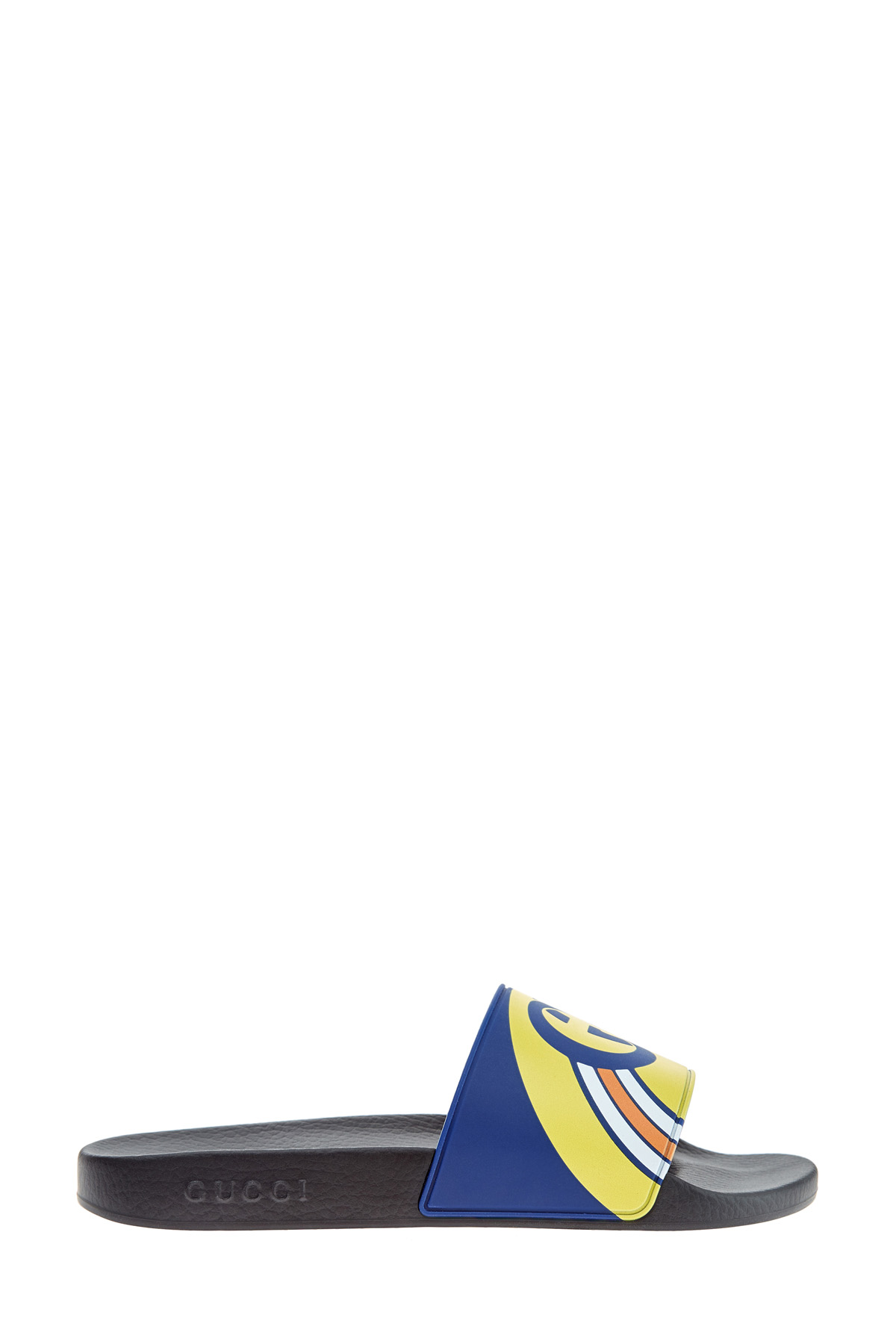 Яркие шлепанцы с принтом в фирменном стиле на массивной подошве