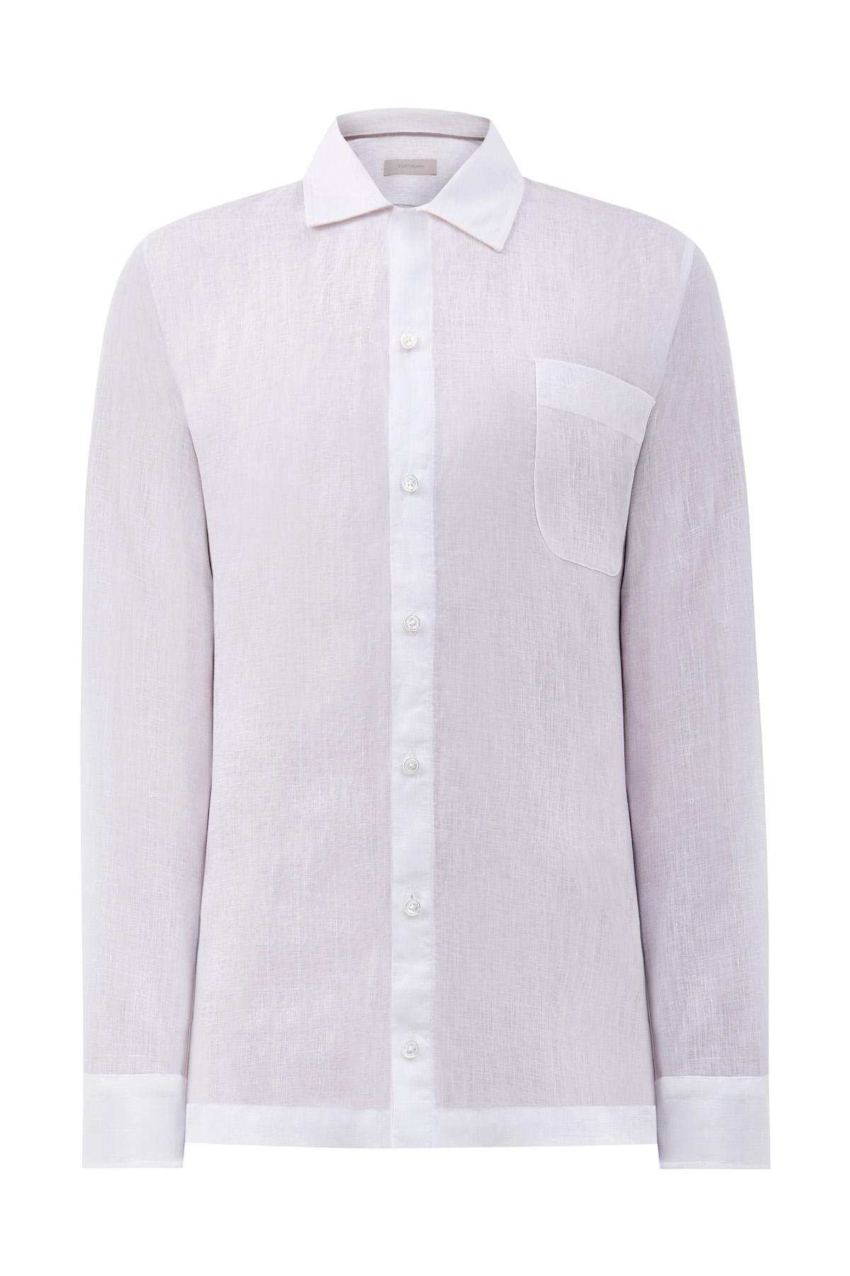 Белая рубашка из фактурного льна