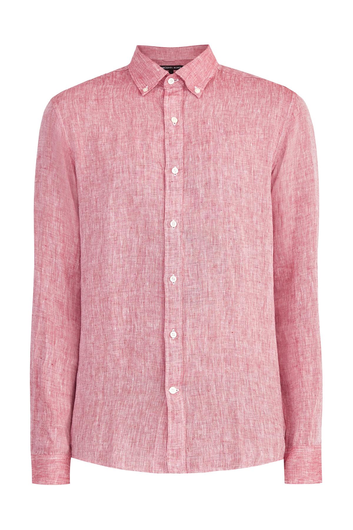 Рубашка силуэта slim fit из натурального льна с меланжевым эффектом