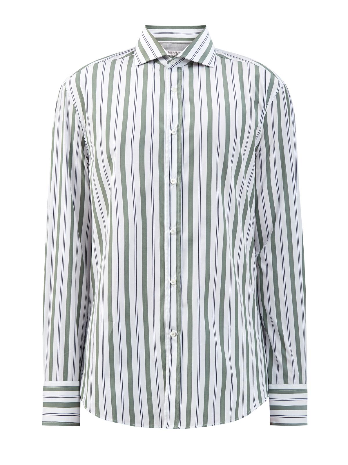 Приталенная рубашка в полоску из гладкого поплина