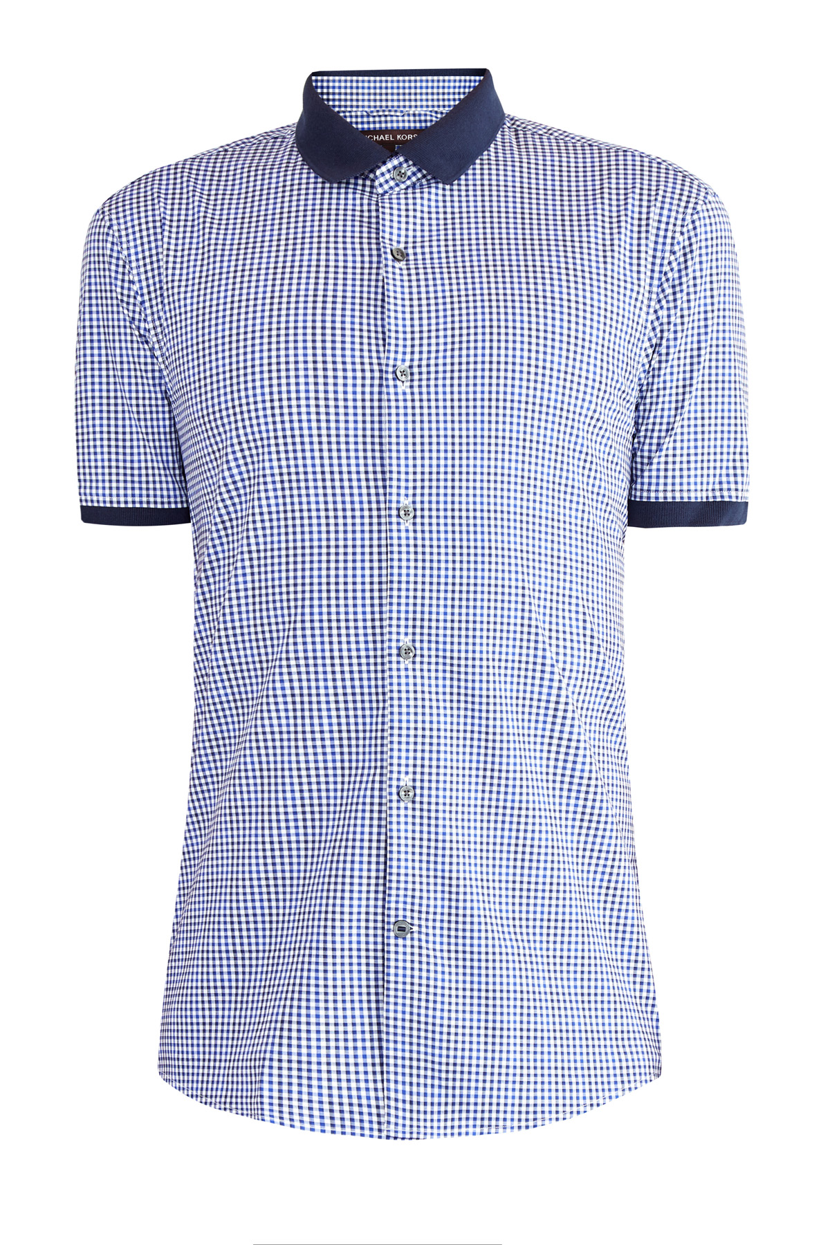 Рубашка slim fit из хлопка в клетку виши с отделкой в стиле поло