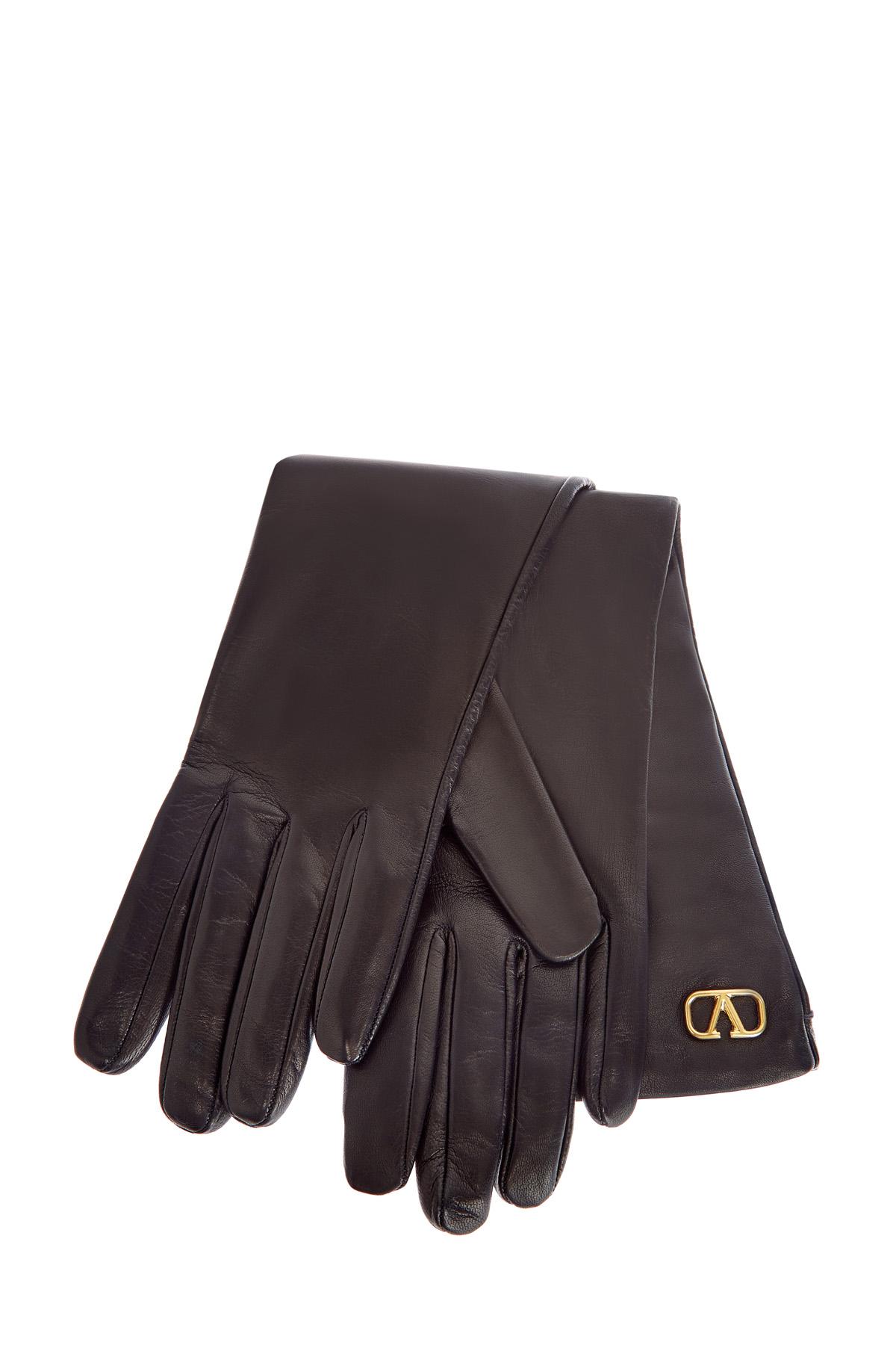 Перчатки из кожи наппа с внутренней отделкой из шелка