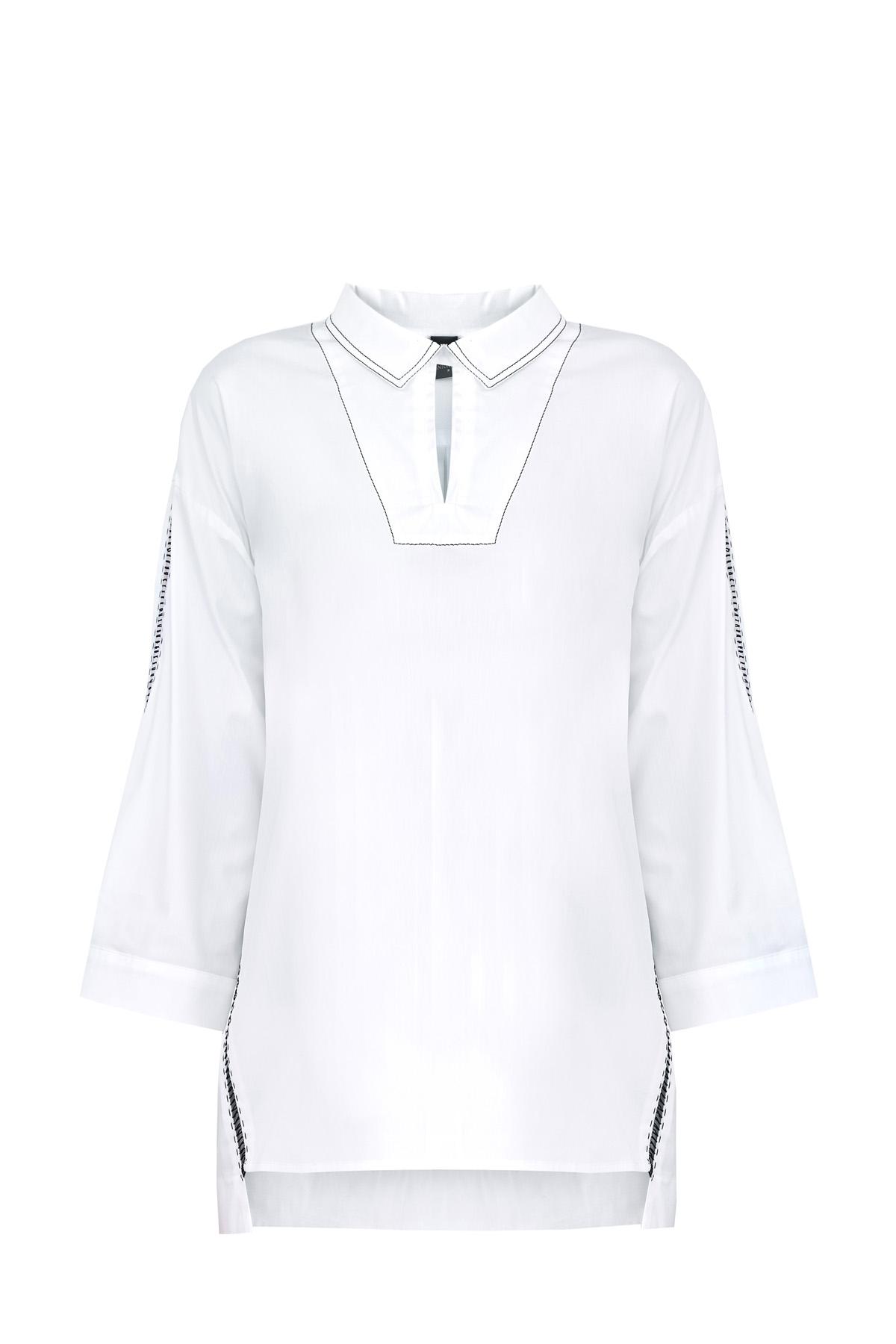 Рубашка из плотного хлопка с декоративными контрастными швами фото
