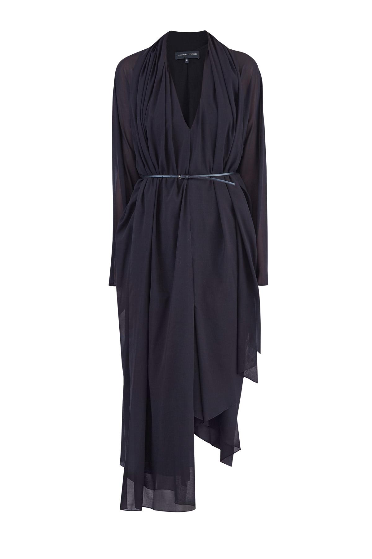Купить Шелковое асимметричное многослойное платье с ремнем на талии, ALEXANDER TEREKHOV, Россия, шелк 95%, эластан 5%