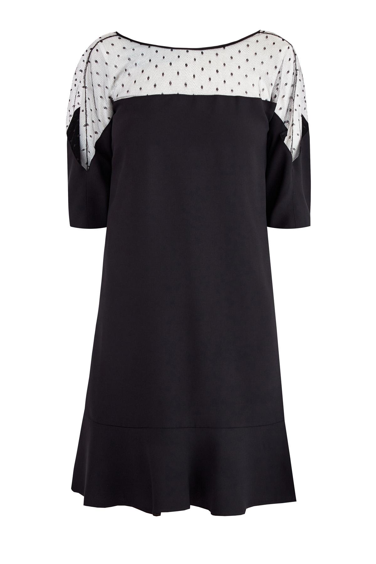 Платье с вуалевым лифом Пуэн-деспри и декольтированной спинкой