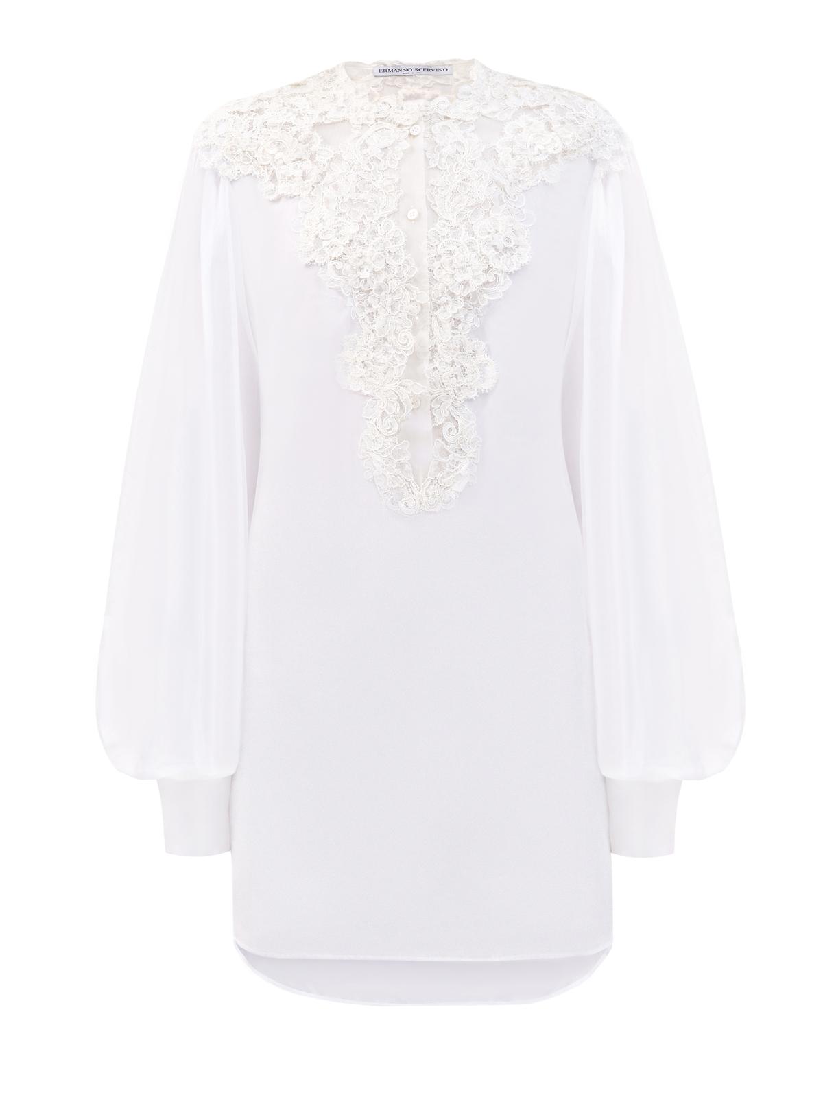 Рубашка из хлопкового муслина с кружевной вышивкой