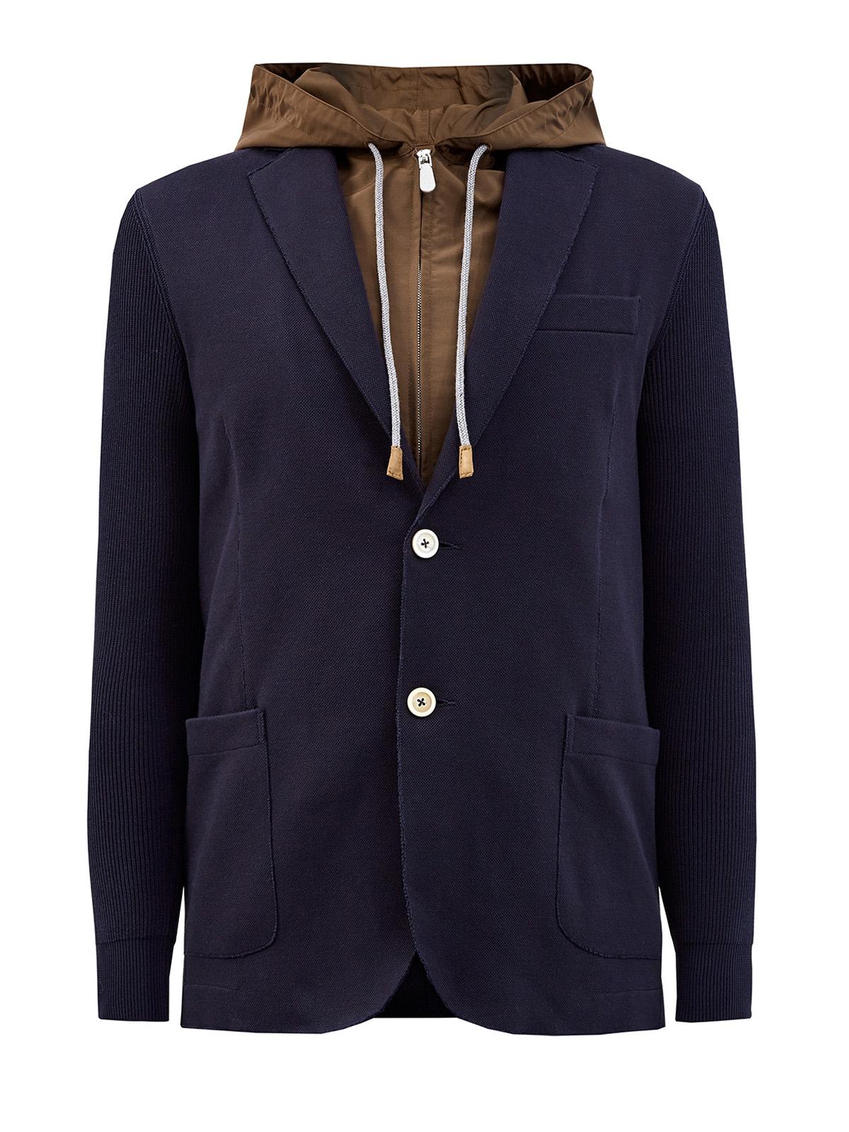 Комбинированный пиджак из хлопка и матового нейлона