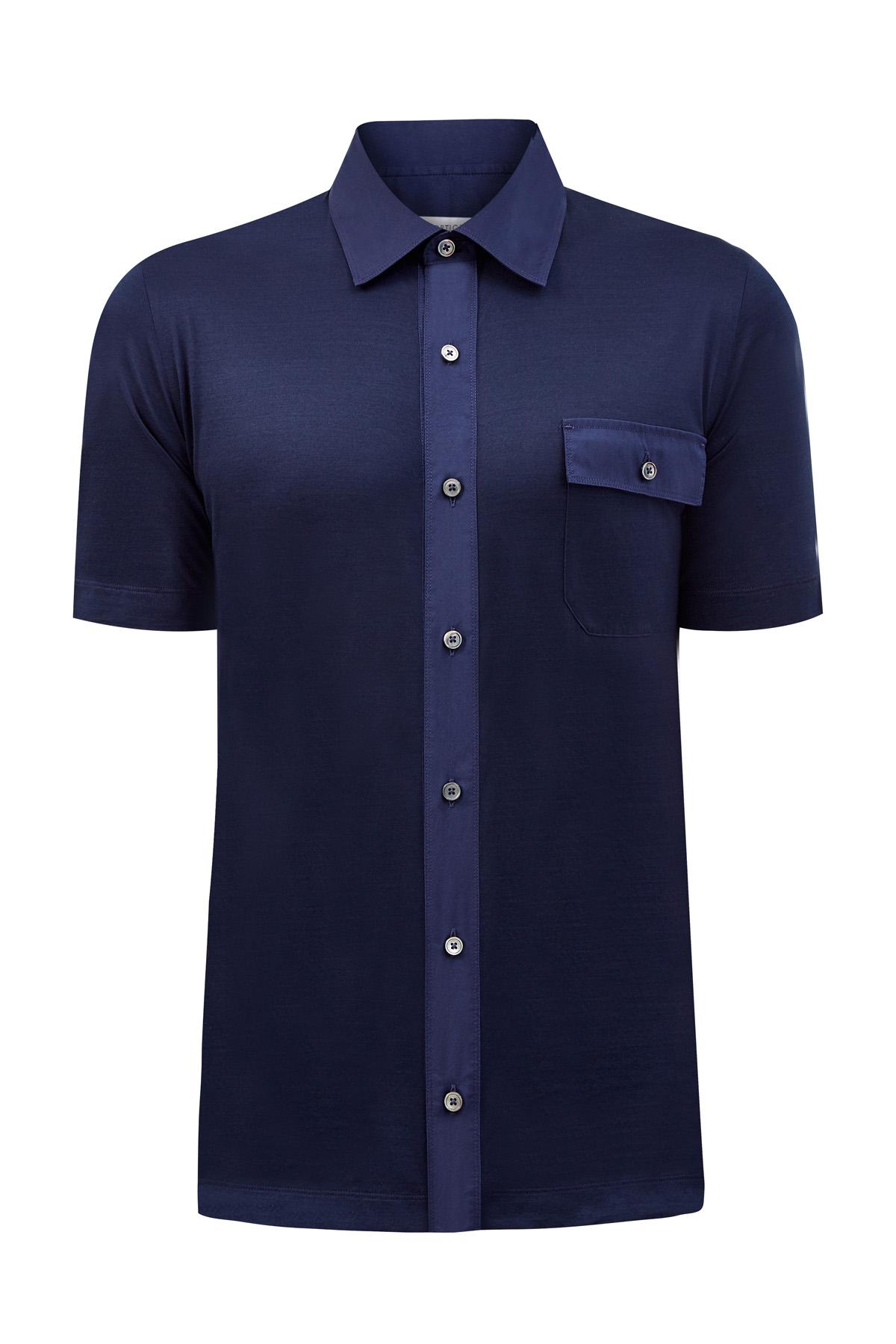 Рубашка из мерсеризованного хлопка джерси с отделкой из тафты