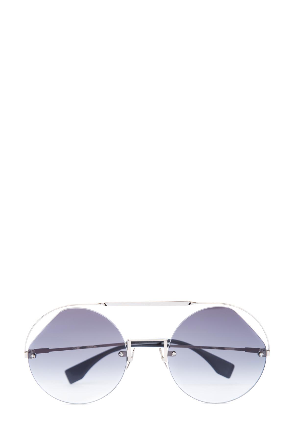 Купить Очки Ribbons & Crystals со скошенными стеклами в тонкой оправе, FENDI (sunglasses), Италия, пластик 100%, стекло 100%