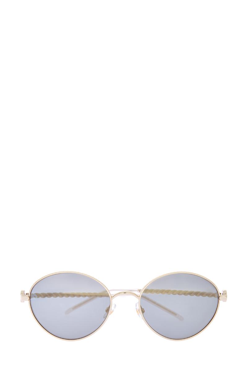 Солнцезащитные очки с вытыми дужками и тонкой золотистой оправой