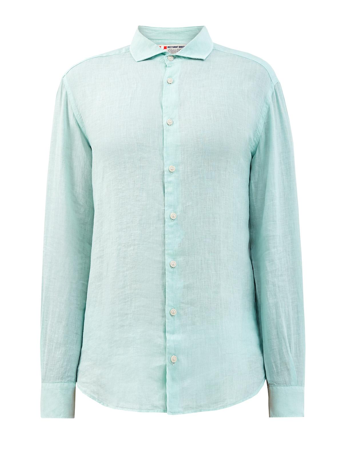 Приталенная рубашка из неоднородного льна