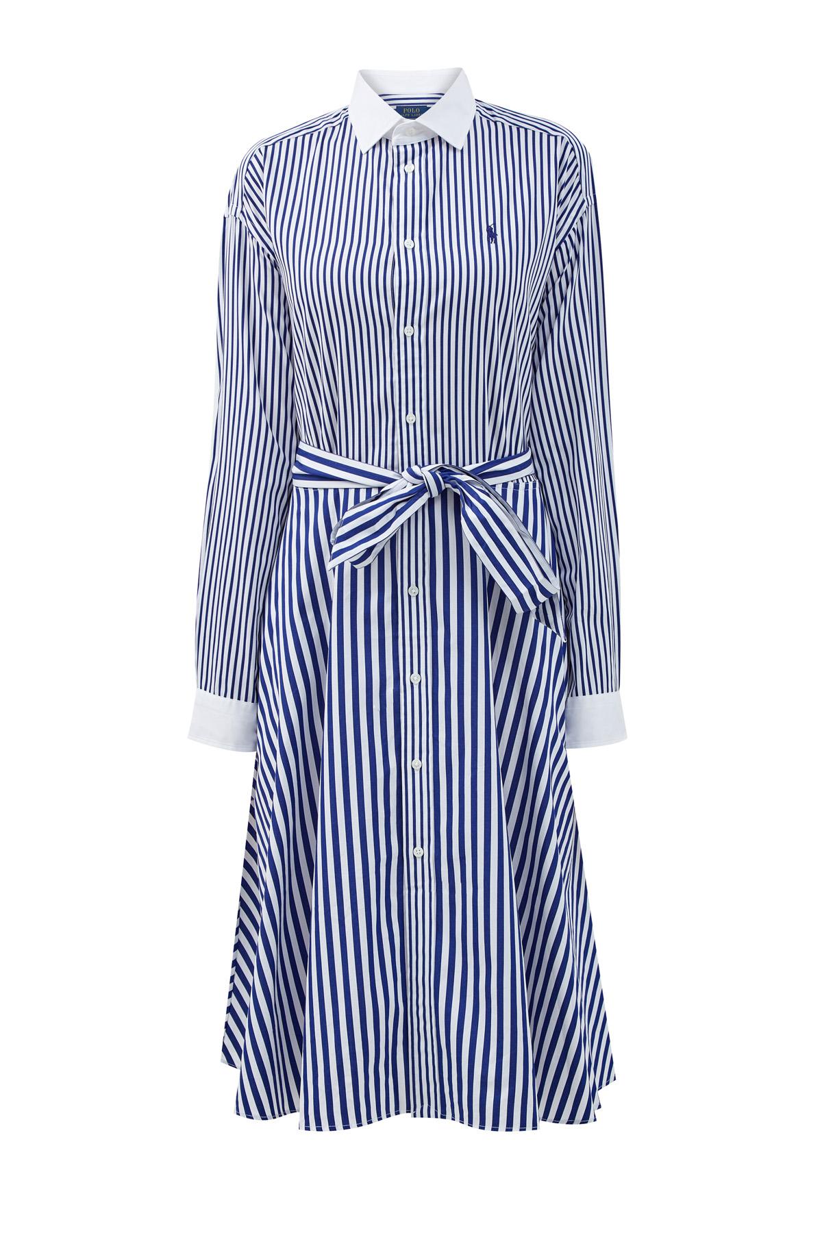 Хлопковое платье-рубашка с принтом в полоску и вышивкой фото