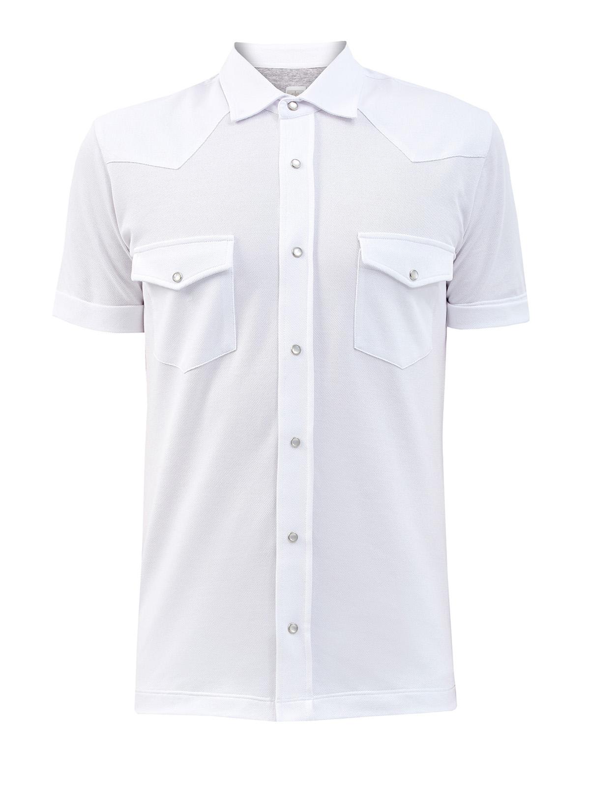 Рубашка излегкого хлопкового пике сперламутровой фурнитурой