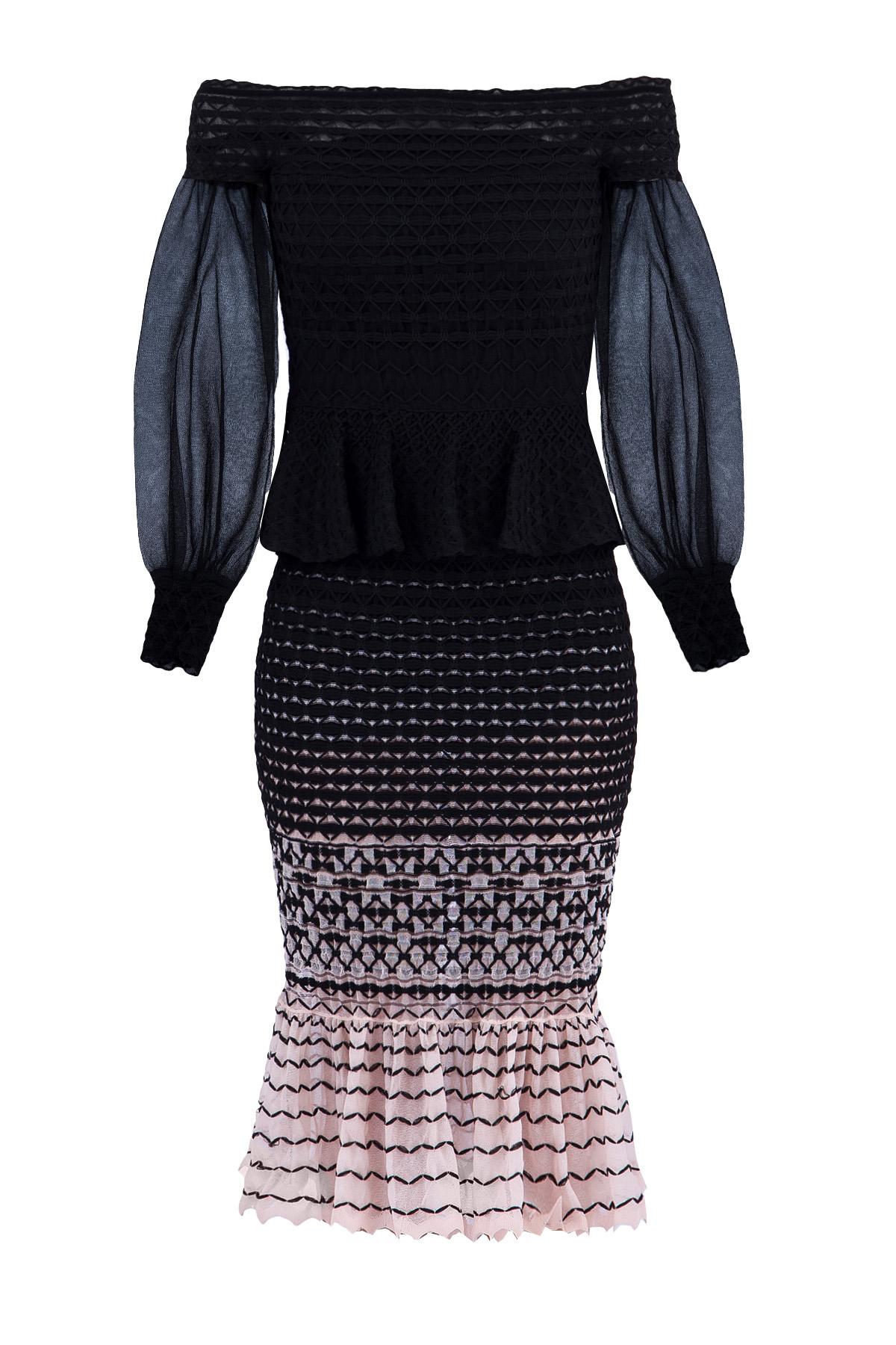 женское платье с длинным рукавом alexander mcqueen