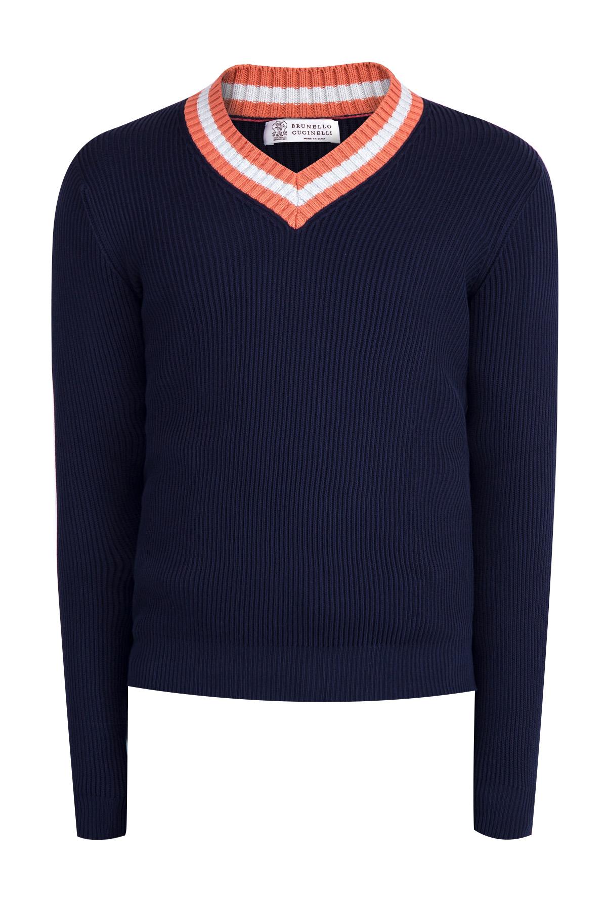 Джемпер Golf Stripes из газового хлопка синего тона, BRUNELLO CUCINELLI, Италия, хлопок 100%  - купить со скидкой