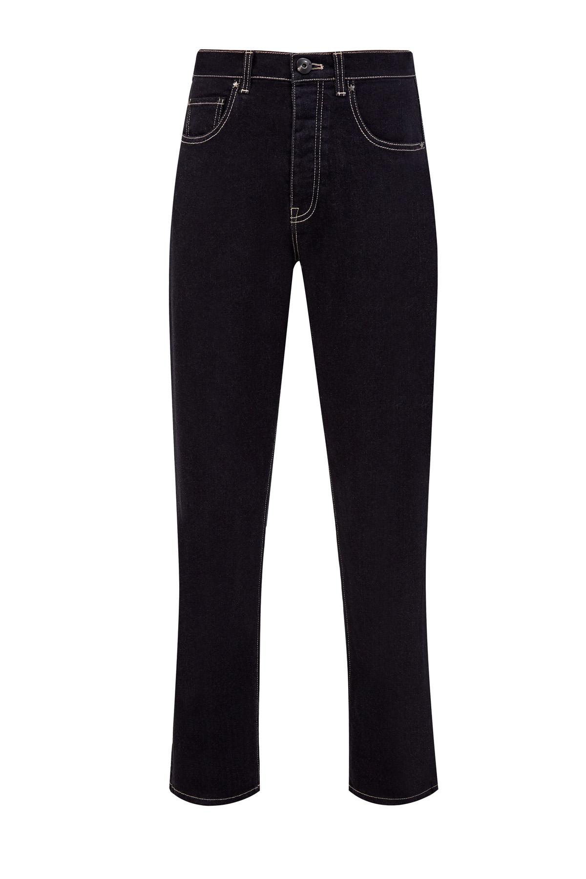 Прямые джинсы из денима-stretch с фурнитурой в виде звезд