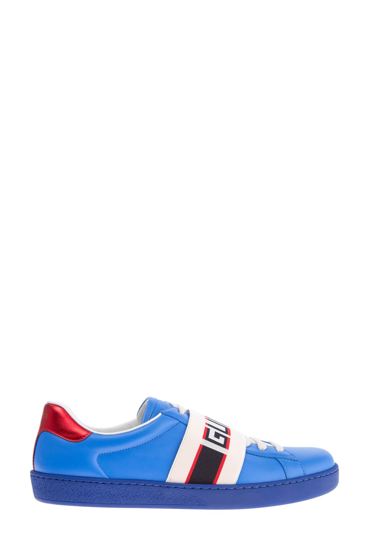 Купить Кеды синего цвета с широкой эластичной лентой с символикой бренда, GUCCI, Италия, кожа 100%